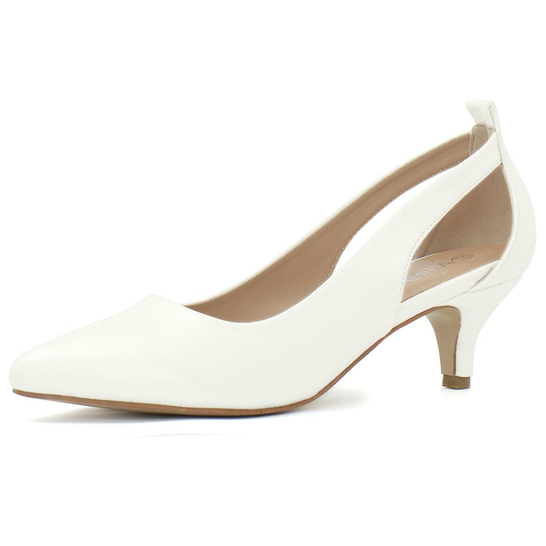 Allegra K Women's Cutout Sides Kitten Heel Pointed Toe Pumps White US 5.5