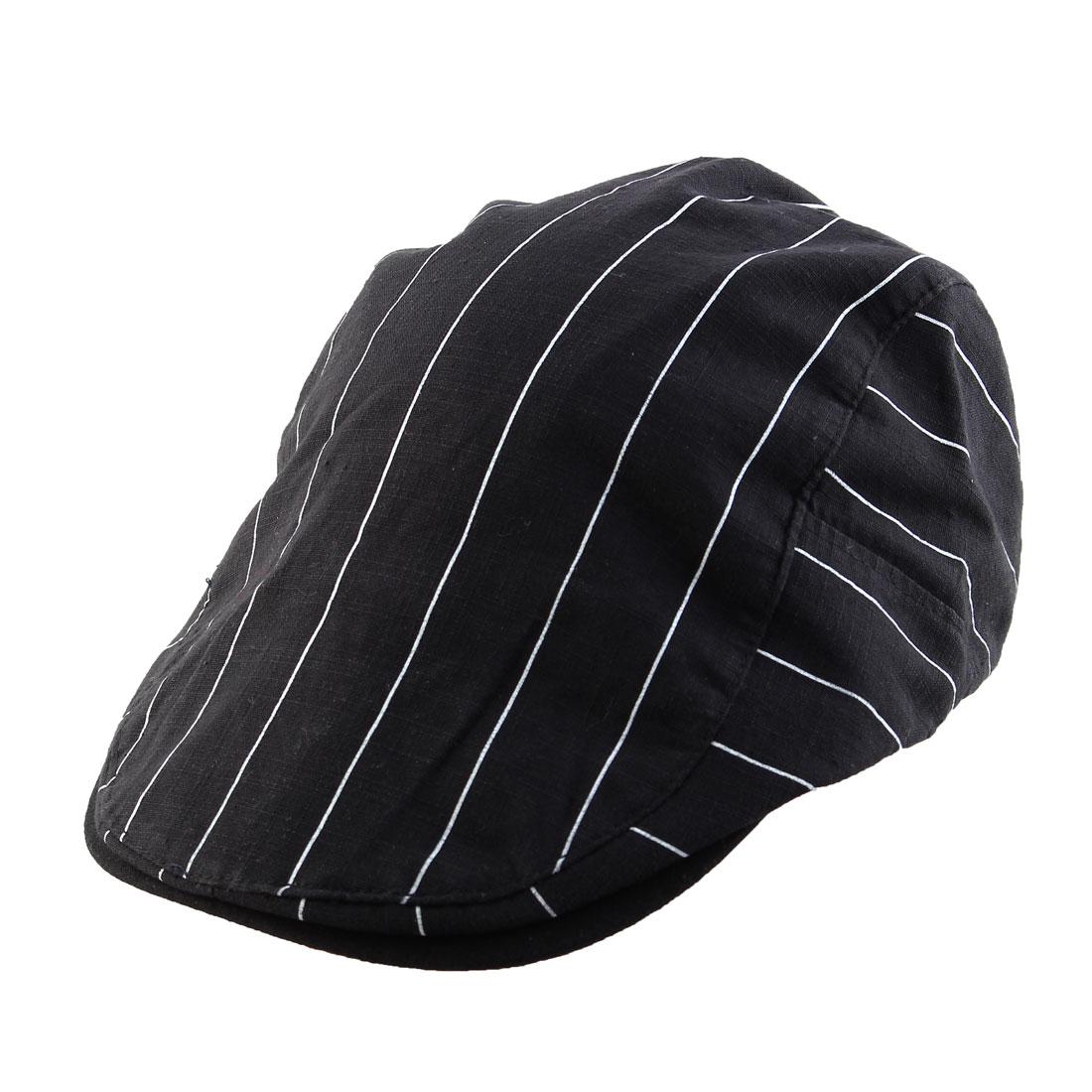 Stripe Pattern Newsboy Duckbill Ivy Cap Traveling Driving Flat Beret Hat Black