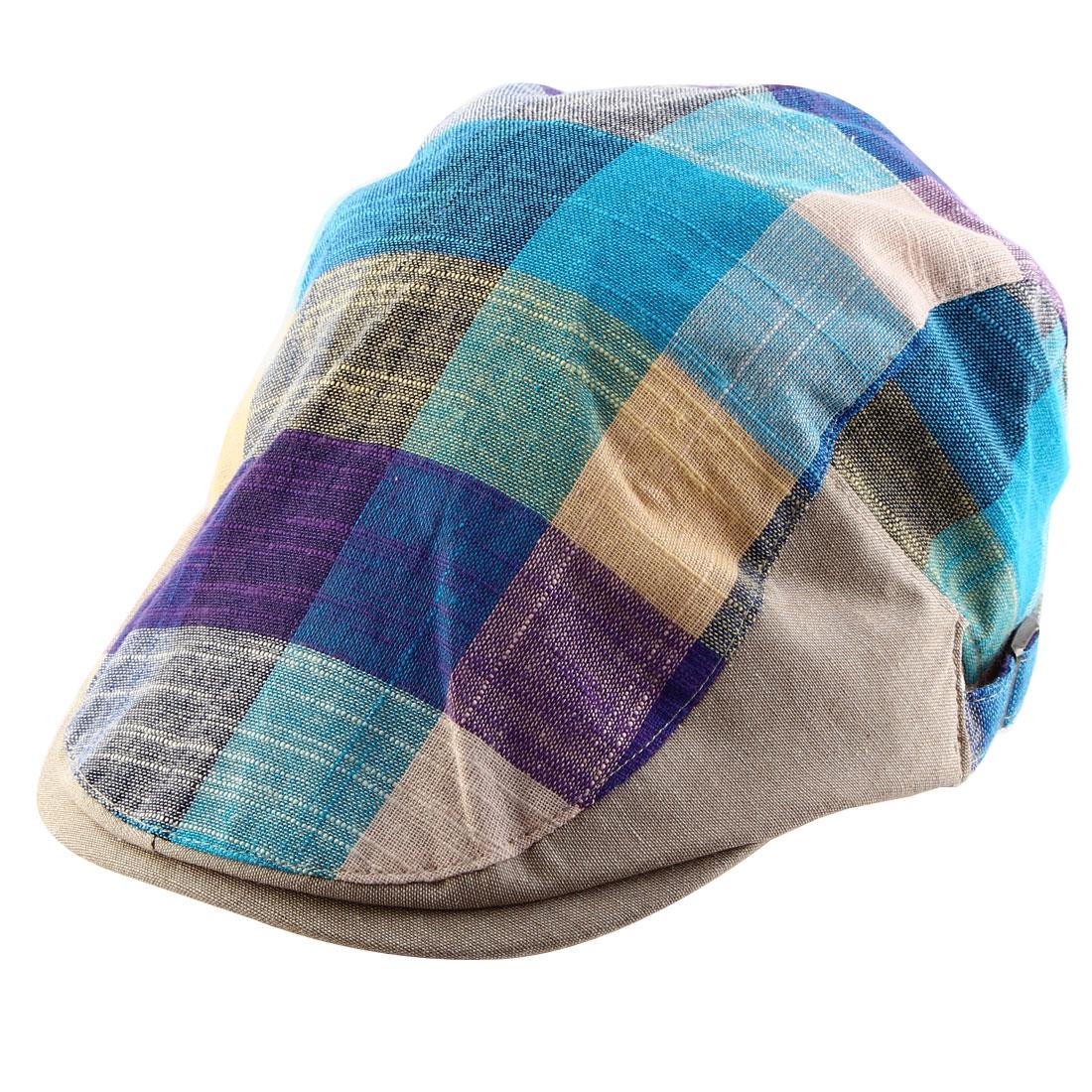 Men Women Plaid Pattern Newsboy Ivy Cap Driving Casual Flat Beret Hat Tricolor