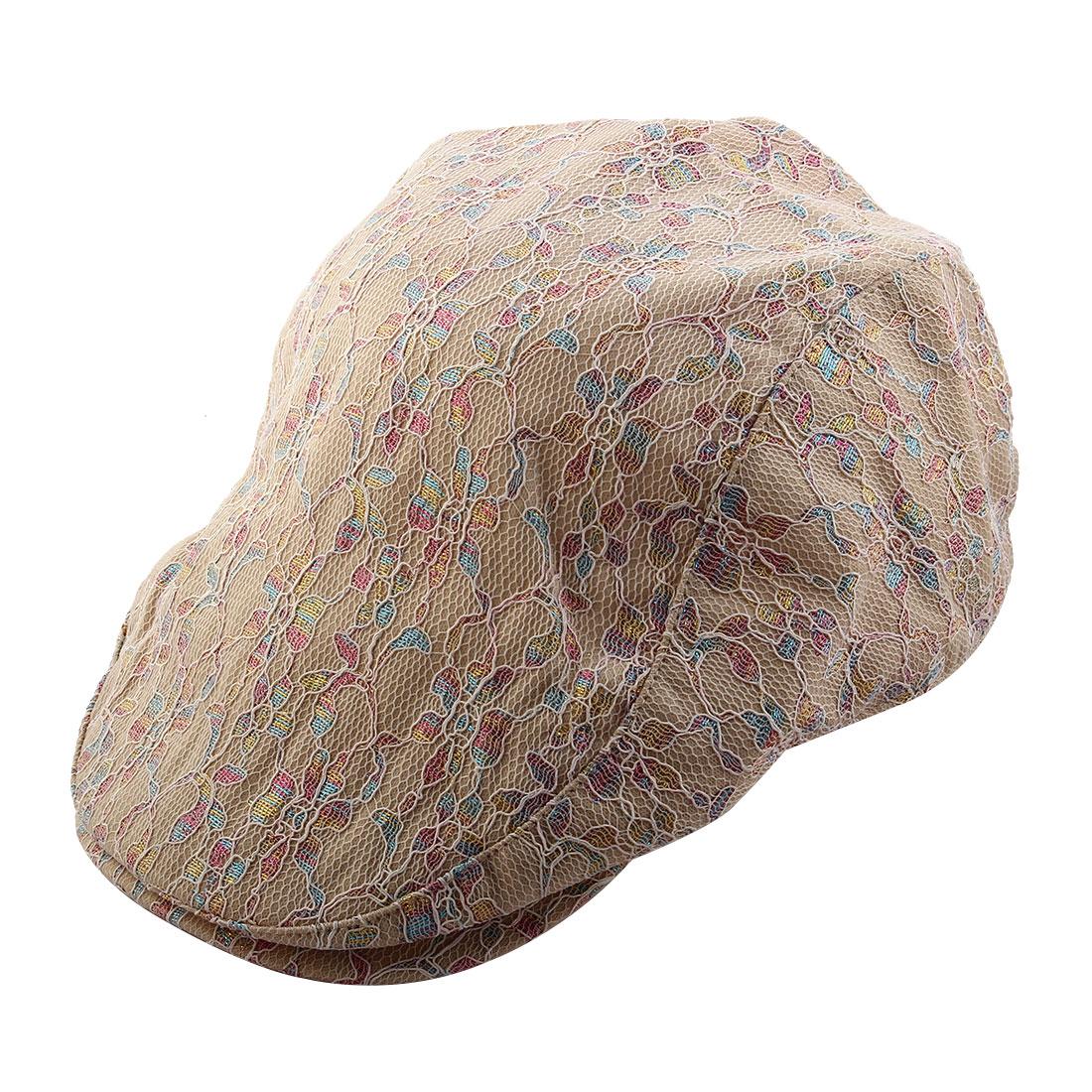 Women Ladies Summer Sun Mesh Newsboy Ivy Cap Driving Golf Flat Beret Hat Khaki