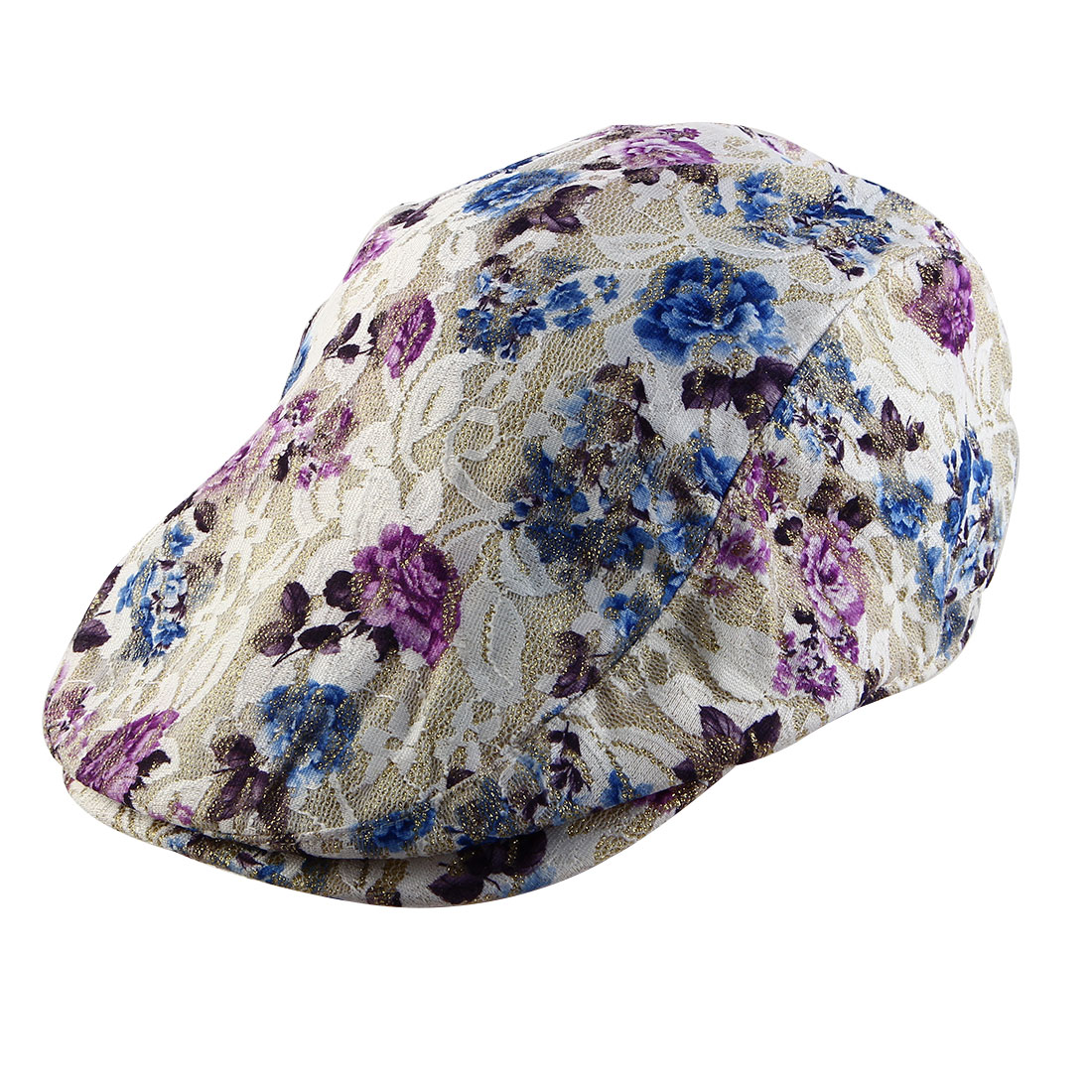 Women Ladies Summer Sun Mesh Newsboy Ivy Cap Driving Flat Beret Hat Purple Blue