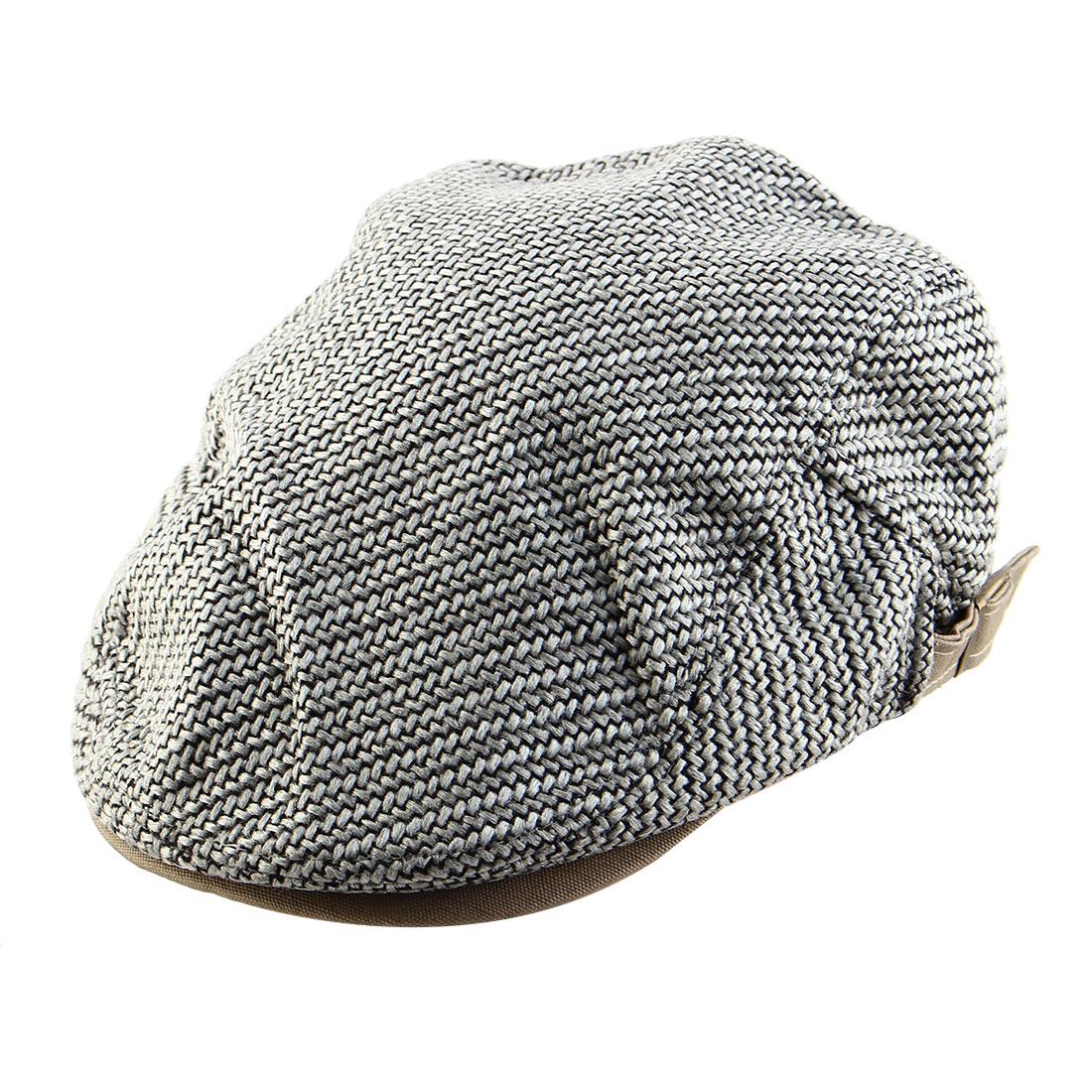 Men Women Vintage Newsboy Linen Ivy Cap Driving Golf Flat Beret Hat Light Gray