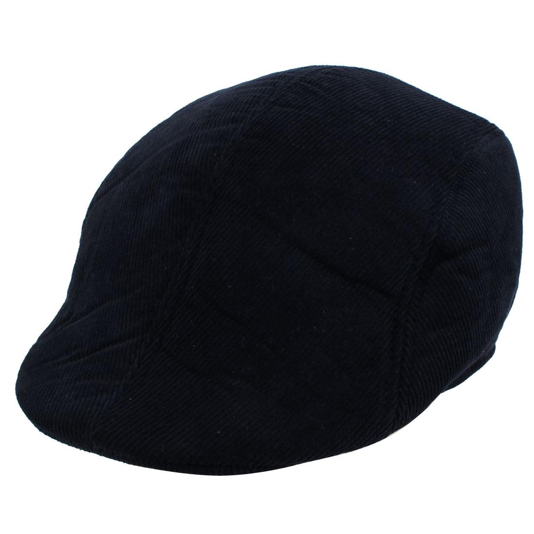 Corduroy Winter Warm Newsboy Ivy Cap Cabbie Driving Flat Beret Hat Navy Blue