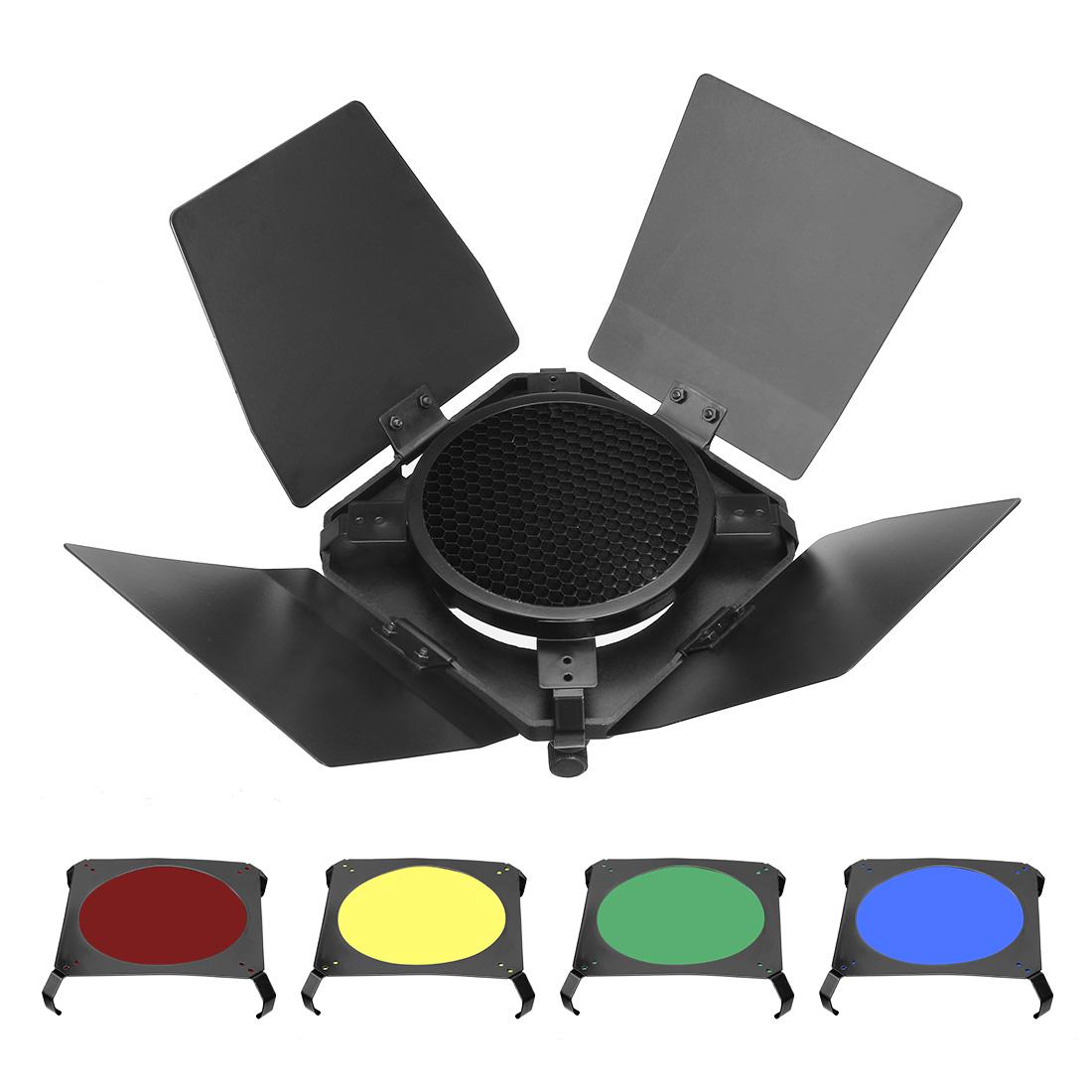 Set of 4 Color Light Gel Filter Sheet + 14cmx14cm Honeycomb Grid Baffle