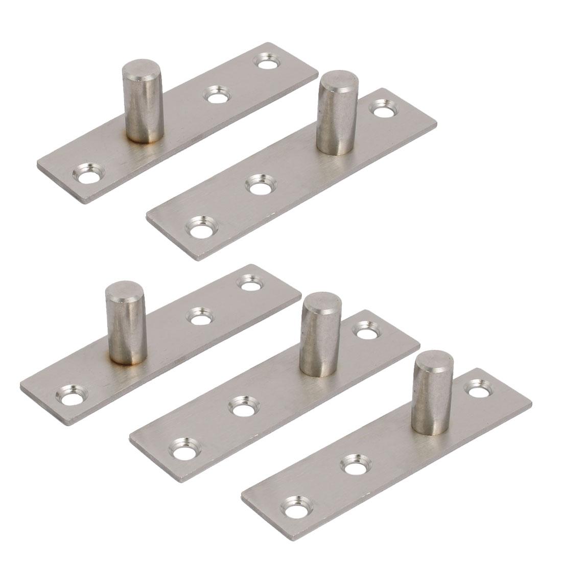 97mm Length Stainless Steel Hidden Door Pivot Hinges Silver Tone 5pcs