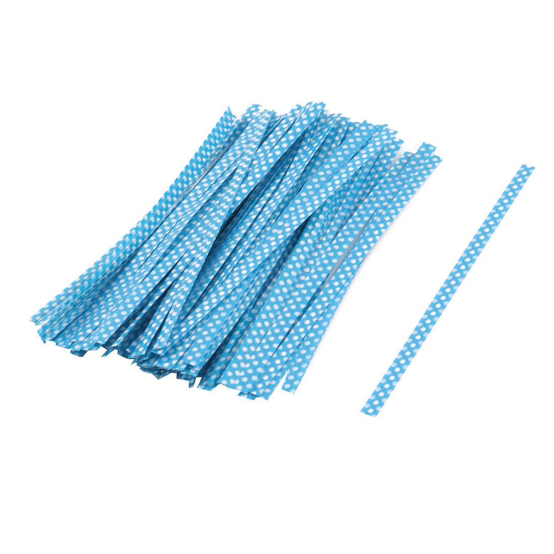 Plastic Dots Pattern Candy Bags Packaging Twist Ties Blue 10cm Length 100 Pcs