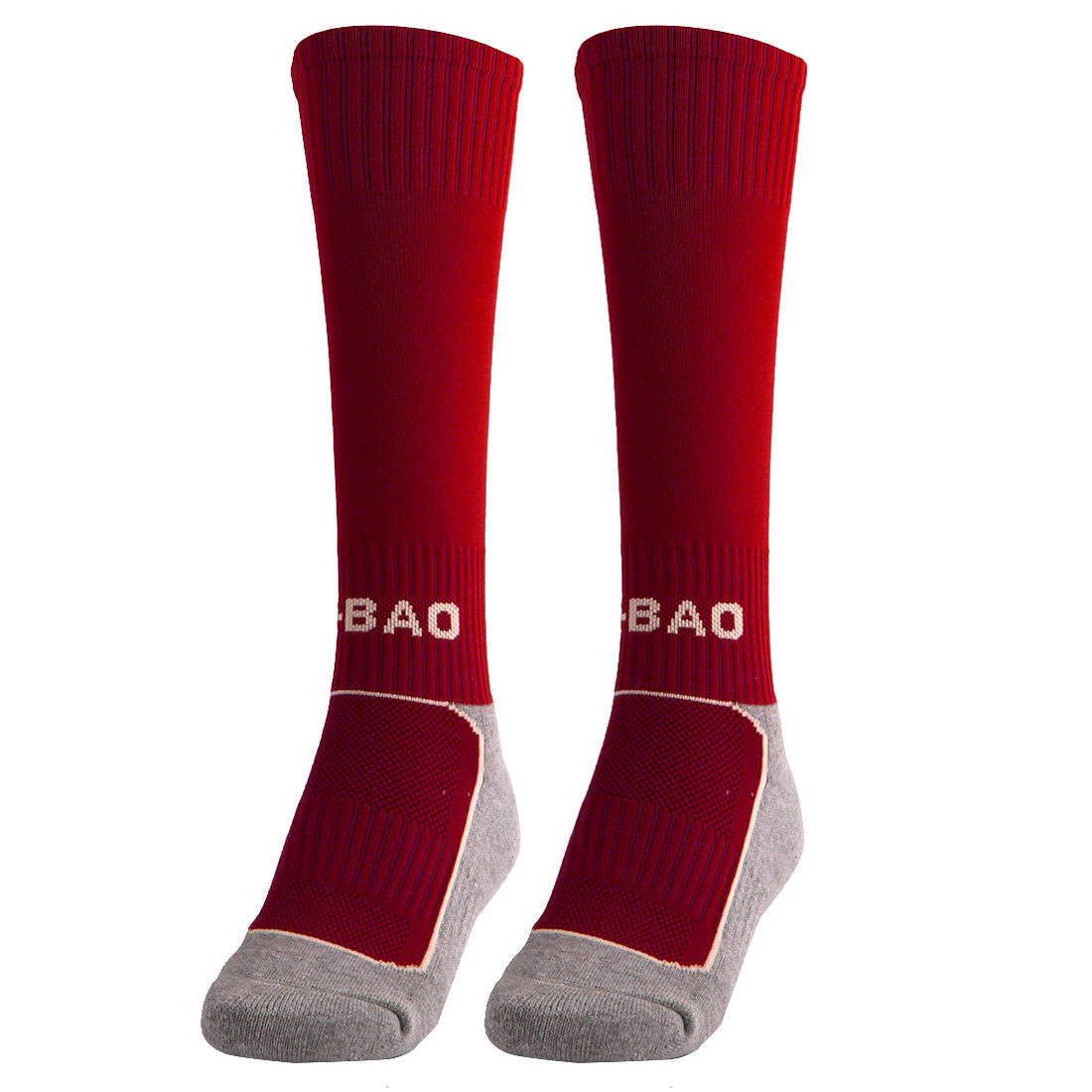 R-BAO Authorized Cotton Blends Outdoor Soccer Football Long Socks Red Pair