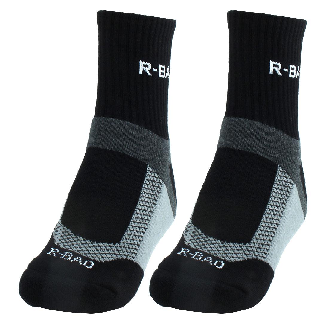 R-BAO Authorized Adult Mountain Bike Workout Training Cycling Socks Black Pair