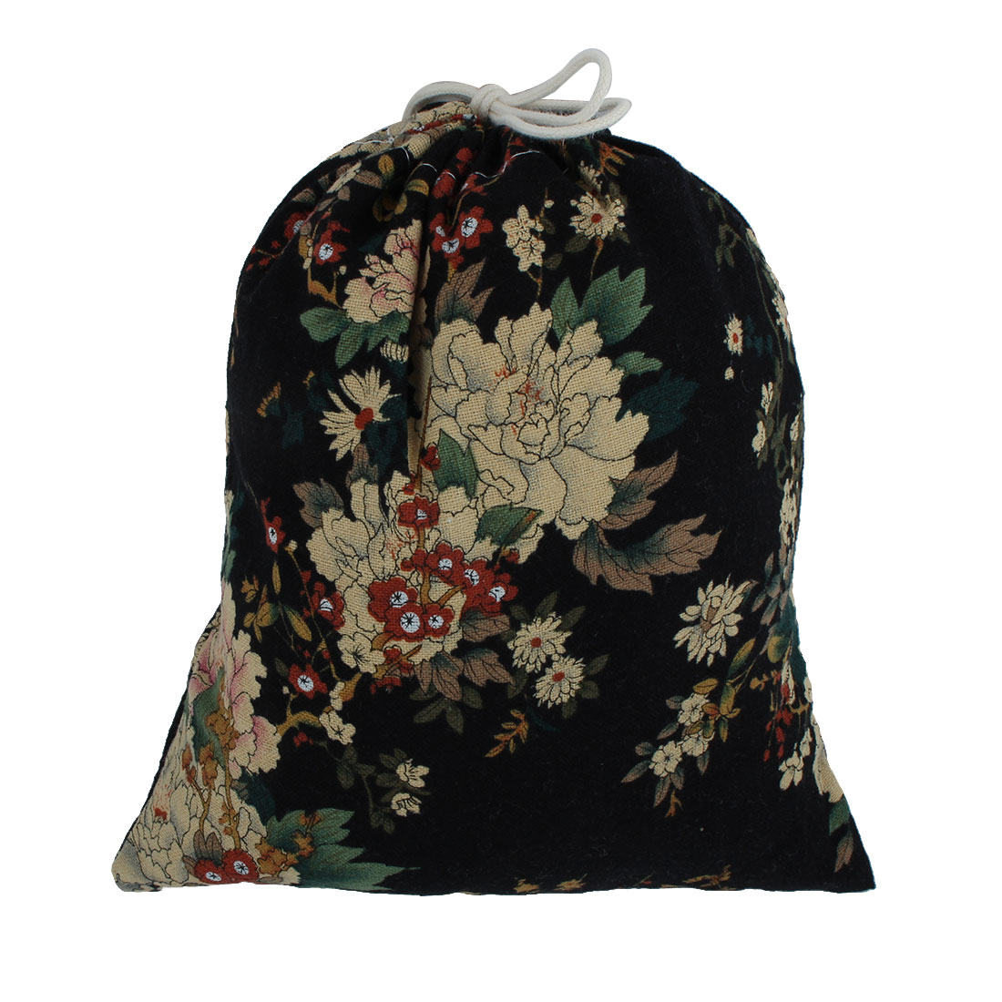 Outdoor Travel Flower Printed Storage Packing Pouch Drawstring Bag Black Medium