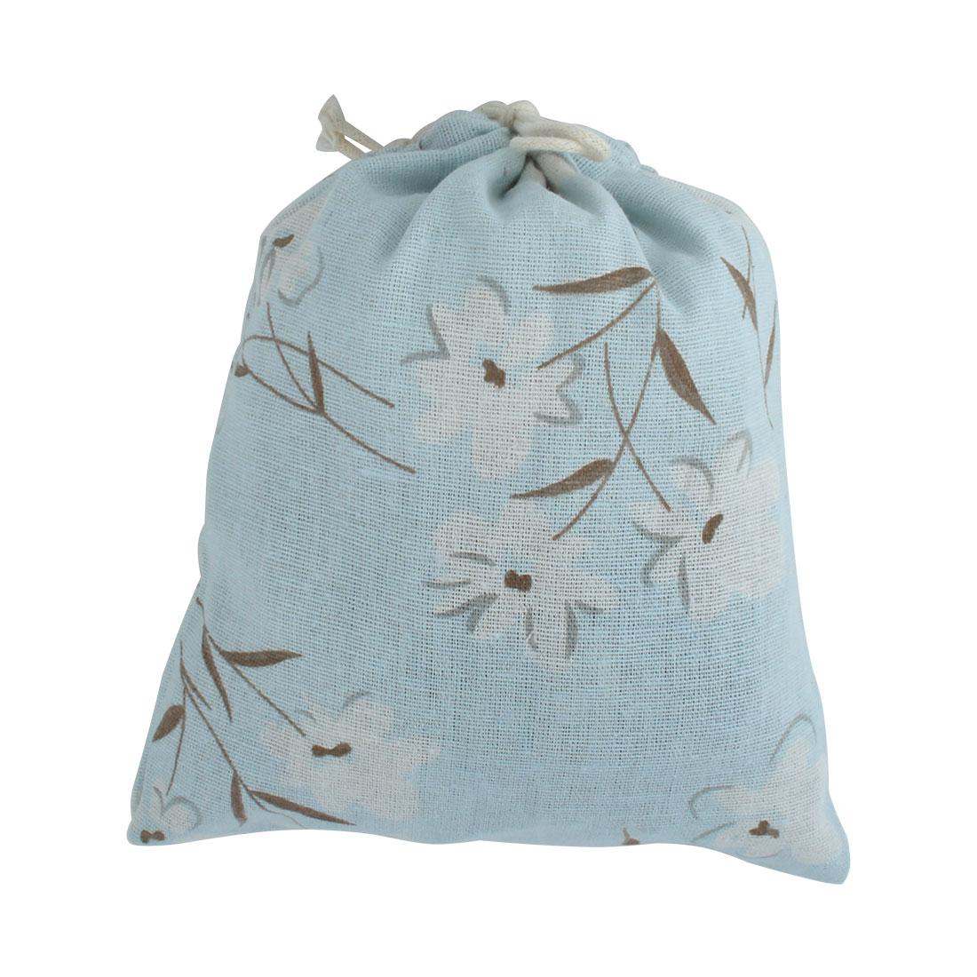 Outdoor Travel Cotton Linen Flower Printed Storage Pouch Bag Light Blue Medium