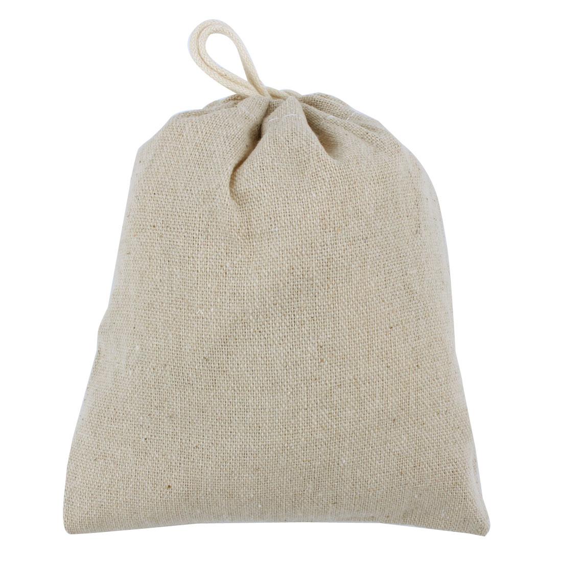 Home Outdoor Cotton Linen Drawstring Storage Pouch Holder Gift Bag 15.5cm x 14cm