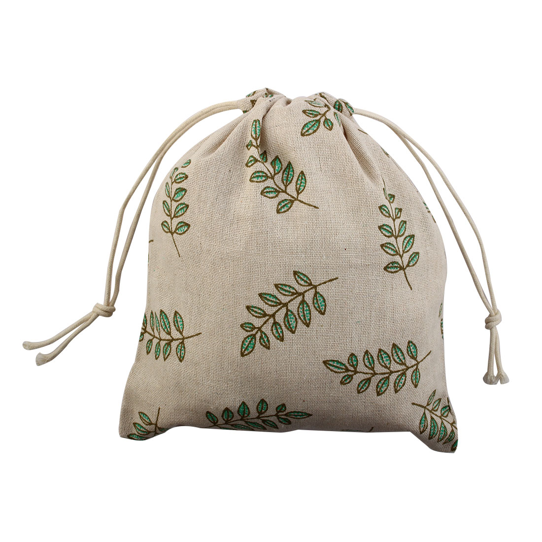 Leaf Pattern Protable Sundries Storage Wedding Gift Pouch Drawstring Bag Medium