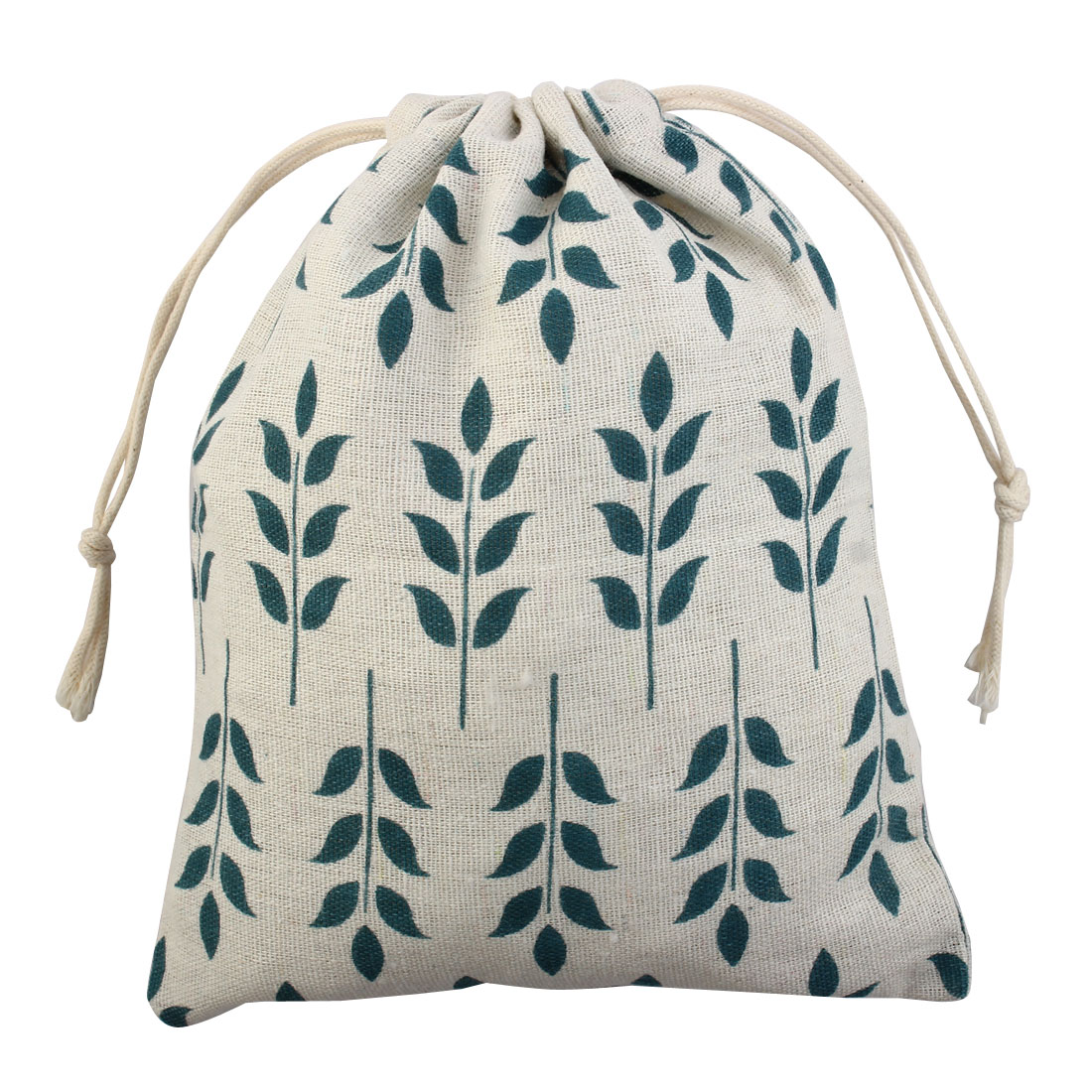 Travel Leaf Pattern Sundries Storage Candies Gift Pouch Drawstring Bag Large