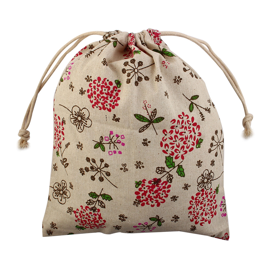 Travel Floral Leaf Print Sundries Storage Candy Pouch Drawstring Bag Red Small