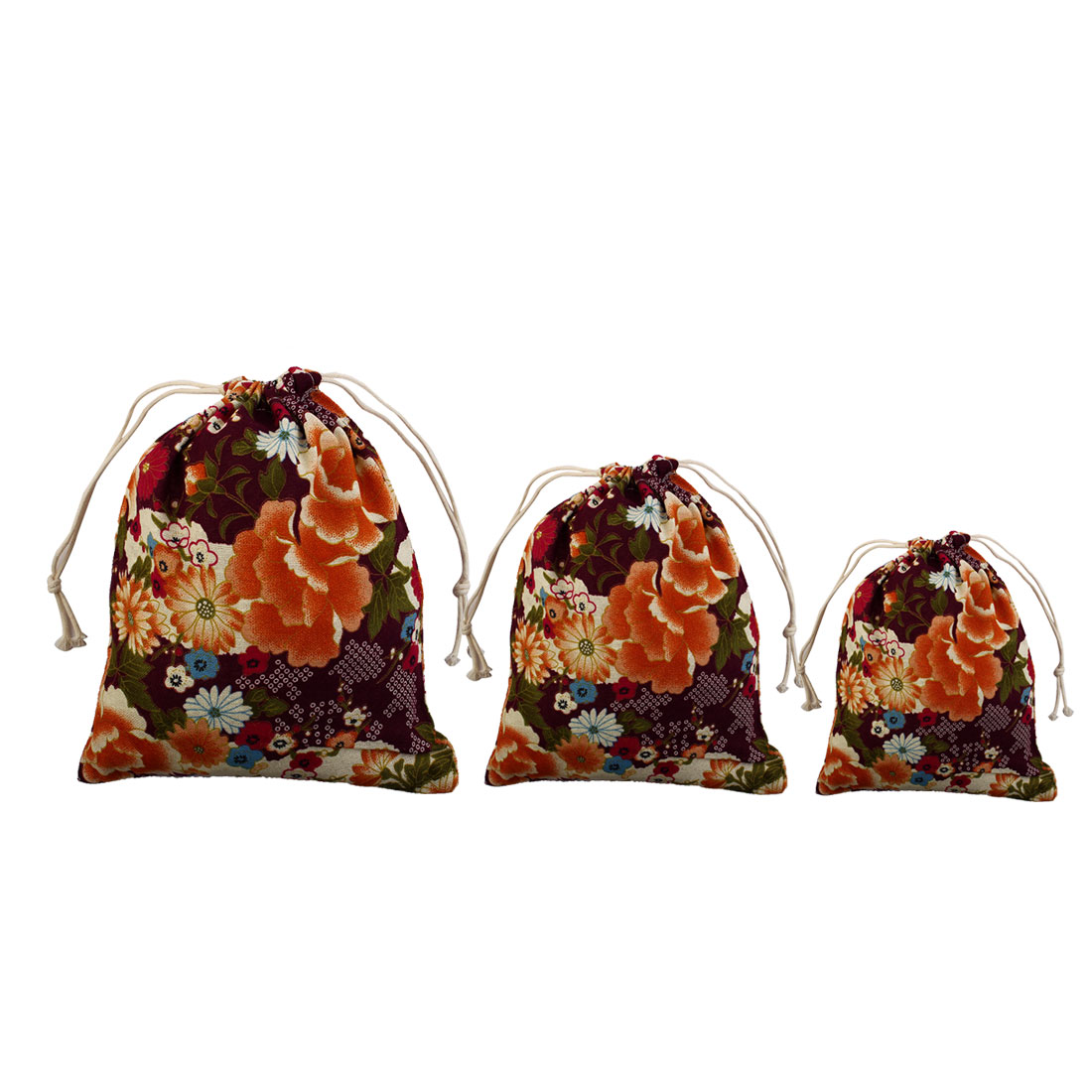 Flower Pattern Protable Sundries Storage Gift Pouch Drawstring Bag Purple 3 in 1