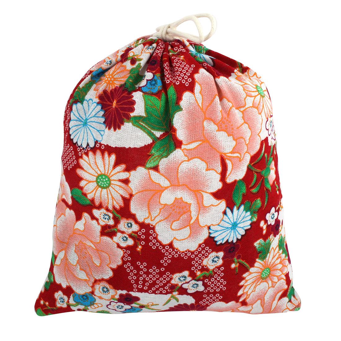 Household Cotton Linen Flower Pattern Organizer Storage Pouch Drawstring Bag Red