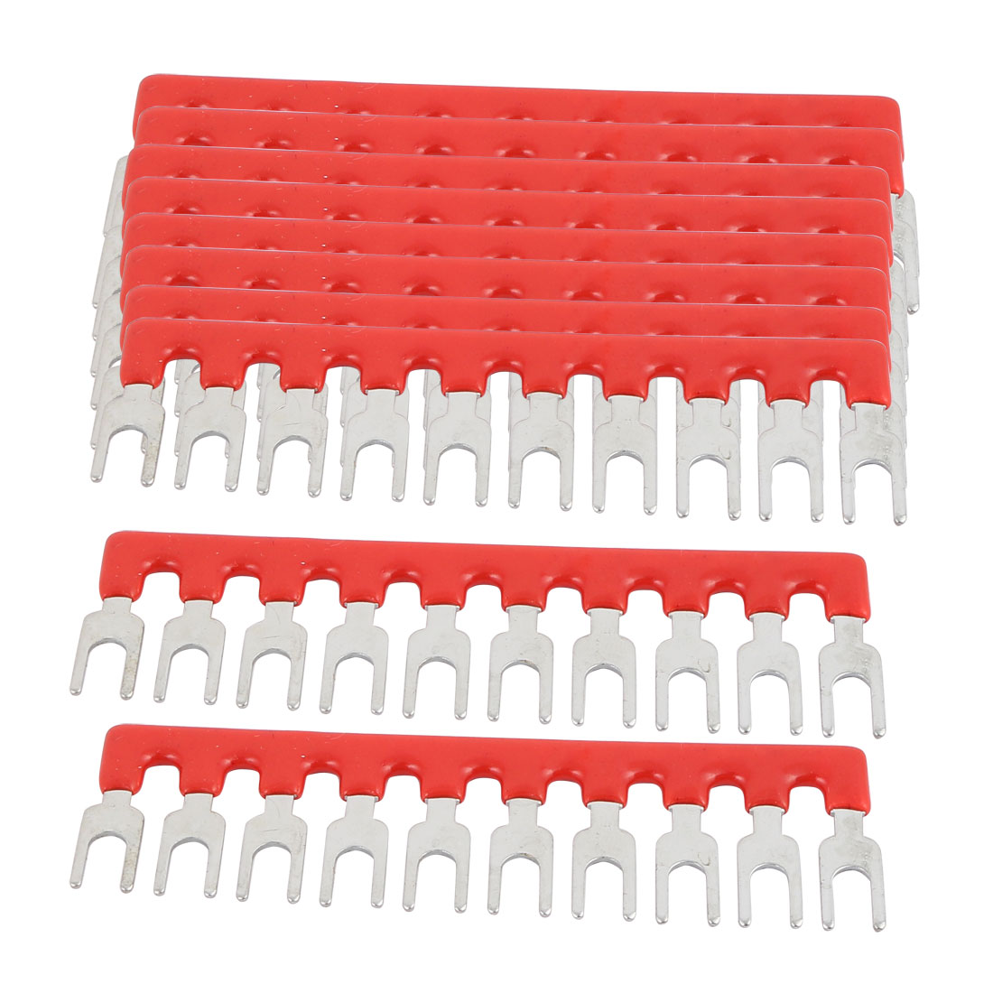 10PCS 600V 15A 5mm Pitch 10P PCB Terminal Block Strip Barrier Red Silver Tone