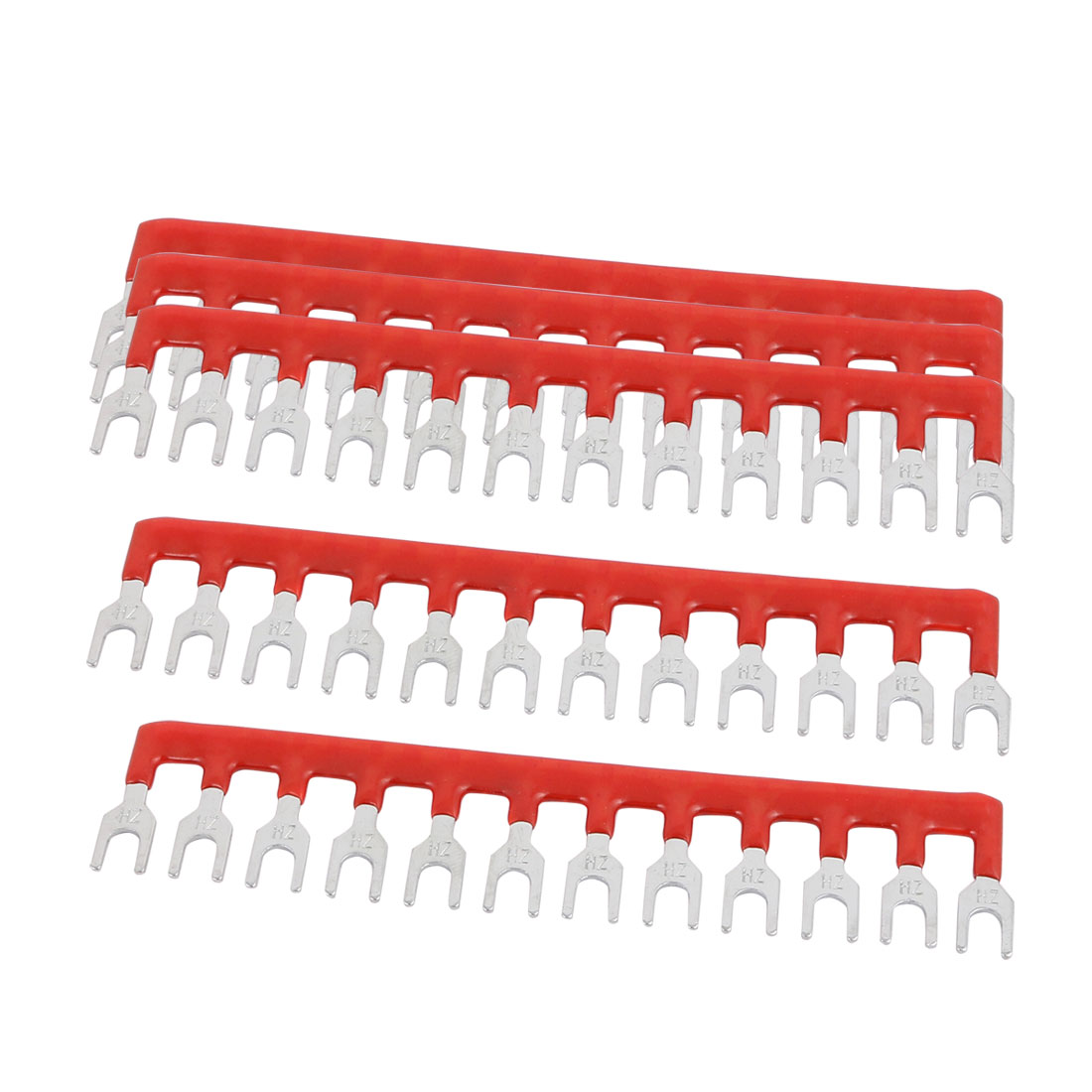 5PCS 600V 15A 5mm Pitch 12 Position PCB Terminal Block Strip Barrier Red