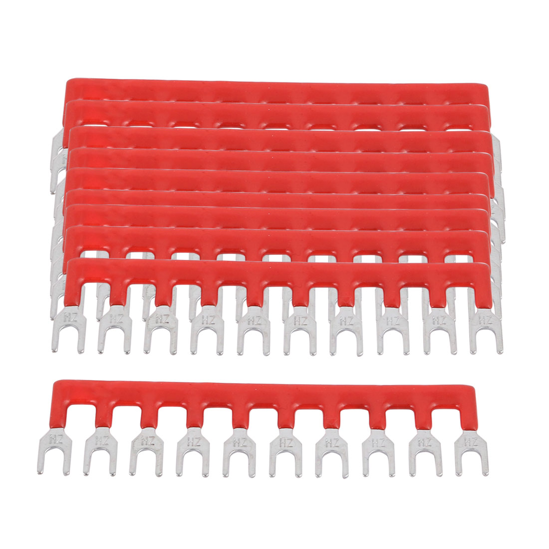 10PCS 600V 15A 5mm Pitch 10 Position PCB Terminal Block Strip Barrier Red