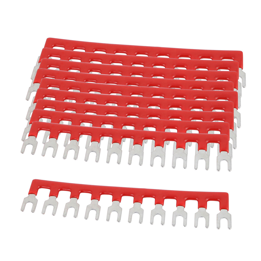 10PCS 600V 25A 6mm Pitch 10 Position PCB Terminal Block Strip Barrier Red