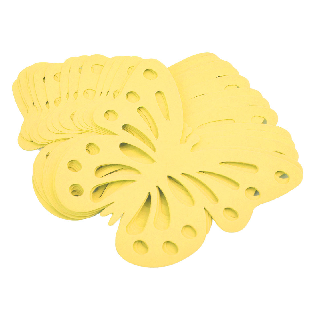 Home Paper Butterfly Design Self-adhesive 3D Wallative Sticker Yellow 24pcs