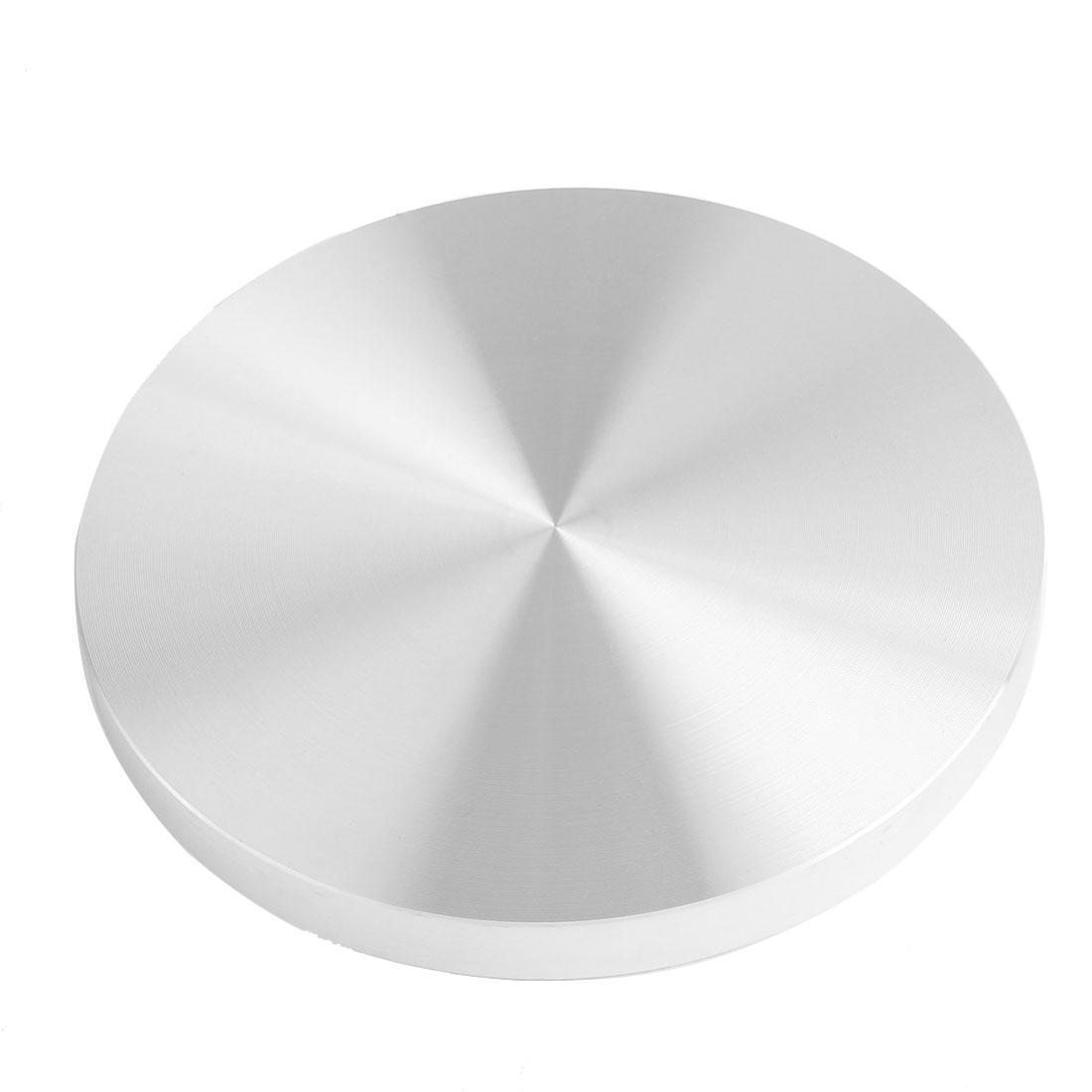 Household Tea Table Glass Top Circle Aluminum Disc Adapter Silver Tone 99mm Dia