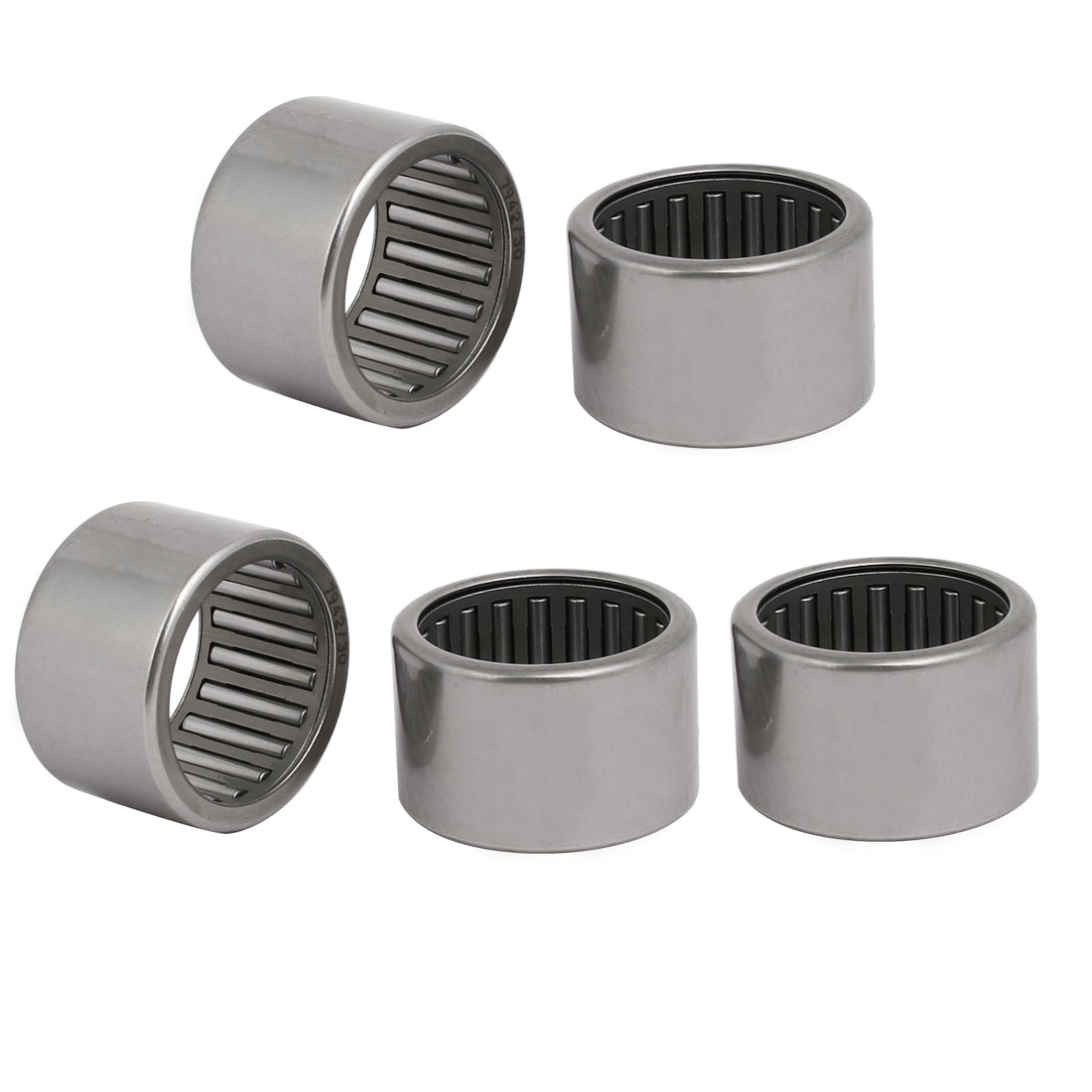 38mmx30mmx24mm Drawn Cup Open End Needle Roller Bearing Silver Tone 5pcs