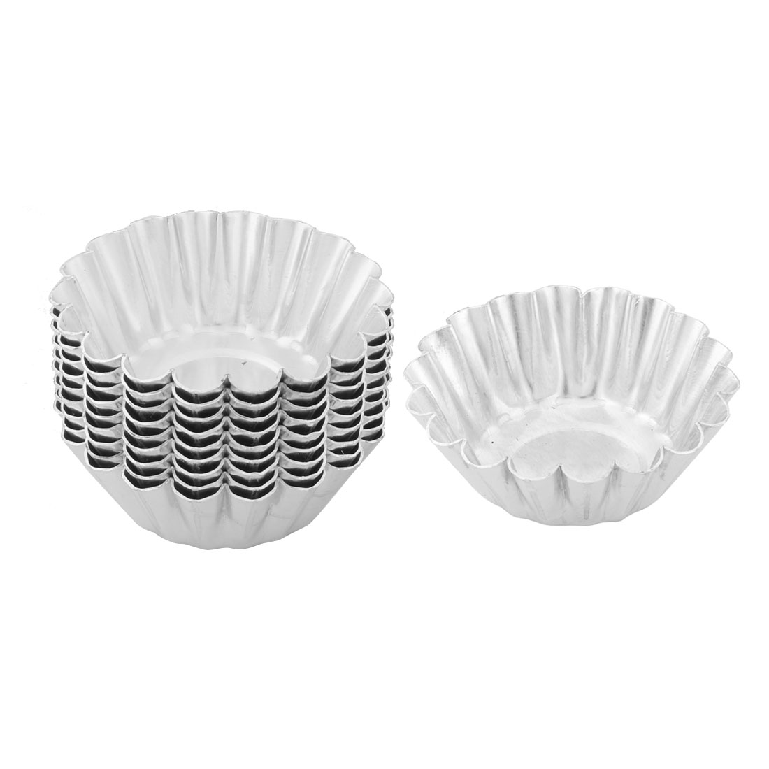 Household Stainless Steel Flower Shaped Cake Egg Pudding Mold Silver Tone 10 Pcs