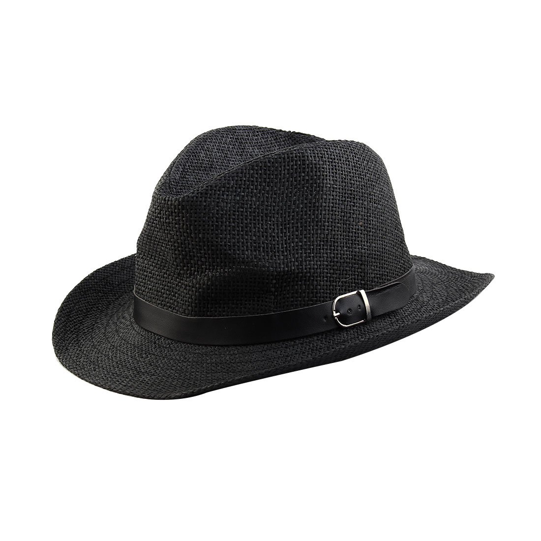 Summer Straw Braided Faux Leather Band Western Style Sunhat Cowboy Hat Black