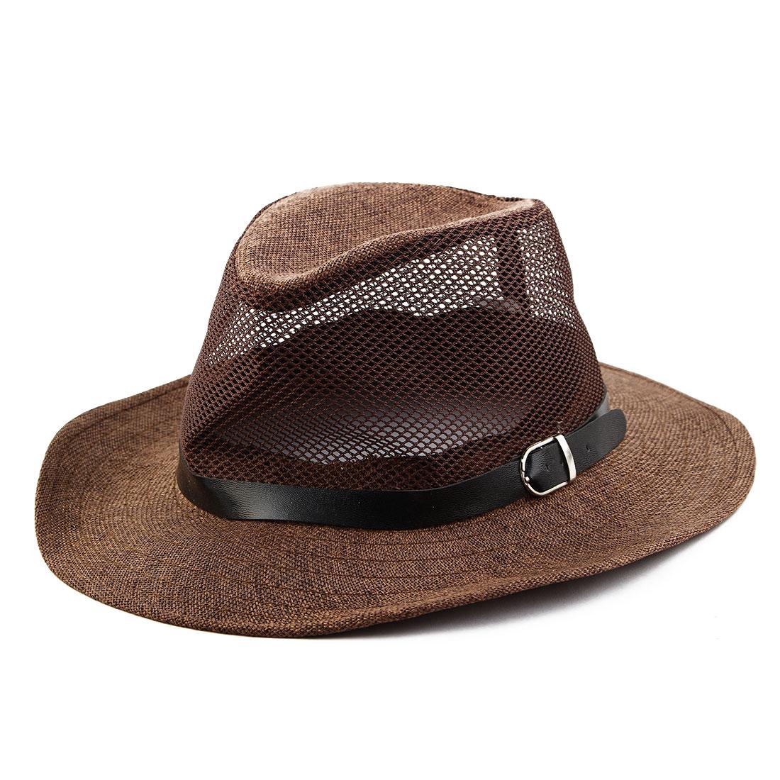 Summer Outdoor Linen Wide Brim Beach Mesh Cap Net Sunhat Cowboy Hat Coffee Color