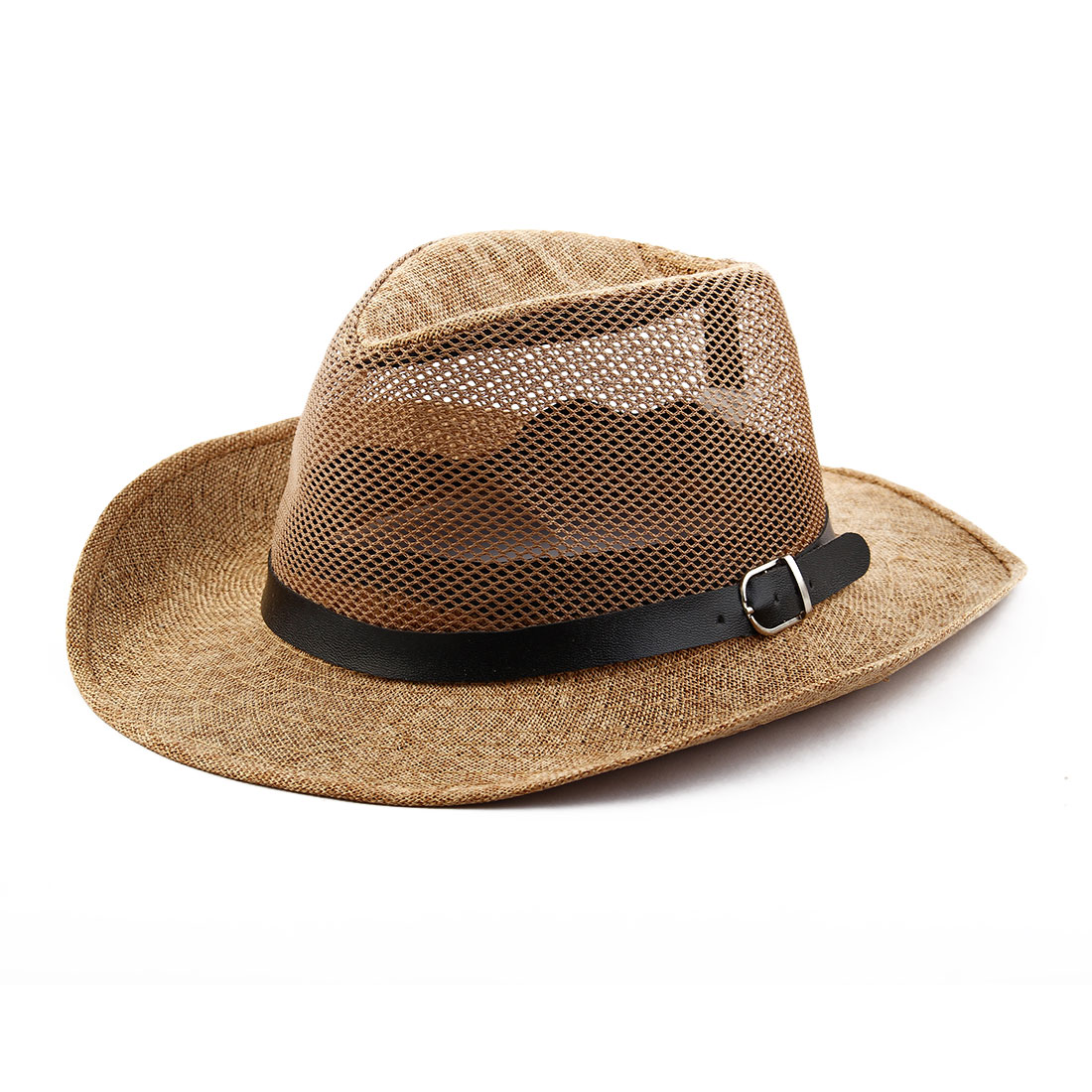 Summer Outdoor Linen Wide Brim Beach Mesh Cap Net Sunhat Cowboy Hat Brown
