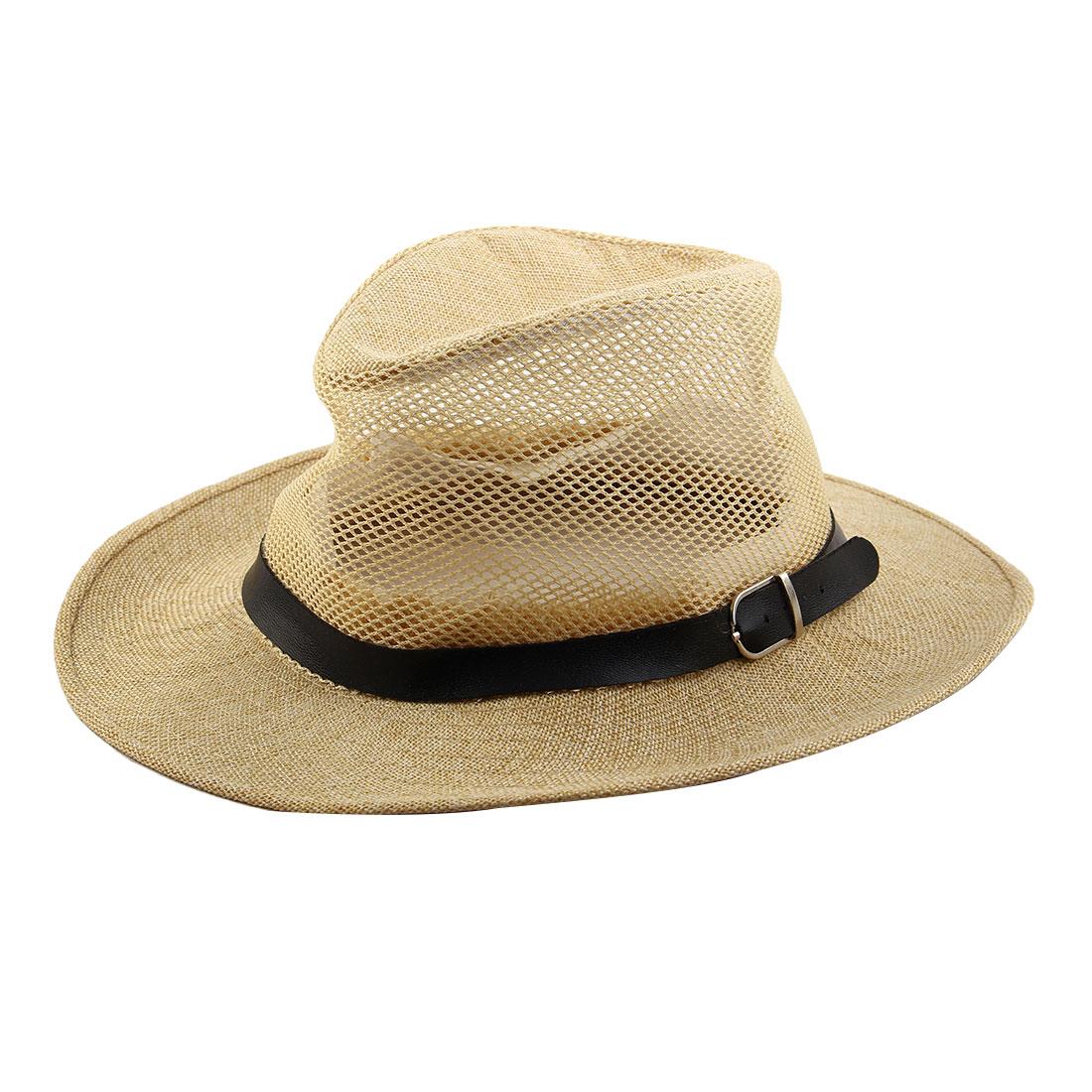 Men Summer Outdoor Linen Wide Brim Beach Mesh Cap Net Sunhat Cowboy Hat Beige