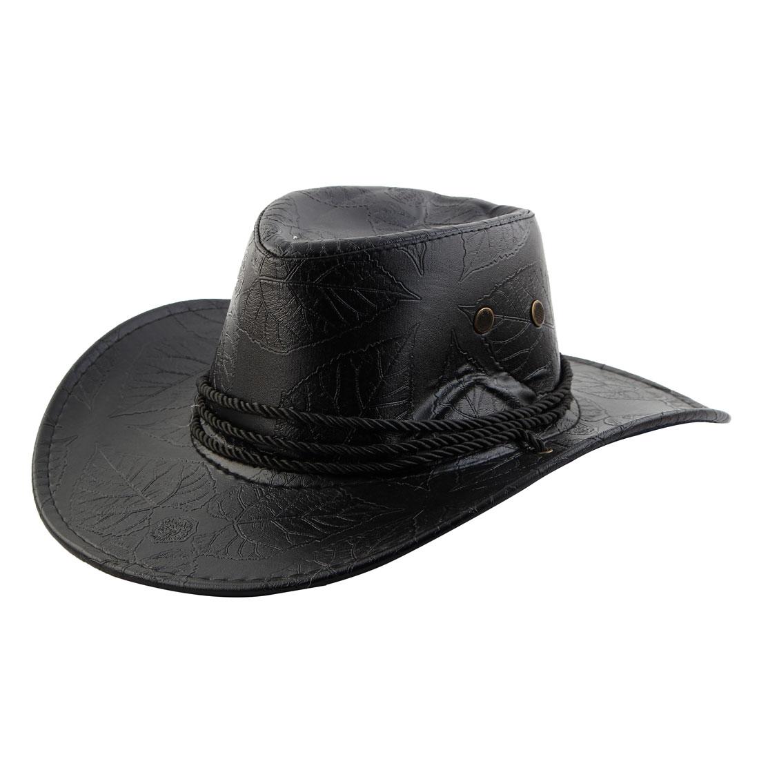 Unisex Faux Leather Adjustable Neck Strap Western Style Sunhat Cowboy Hat Black