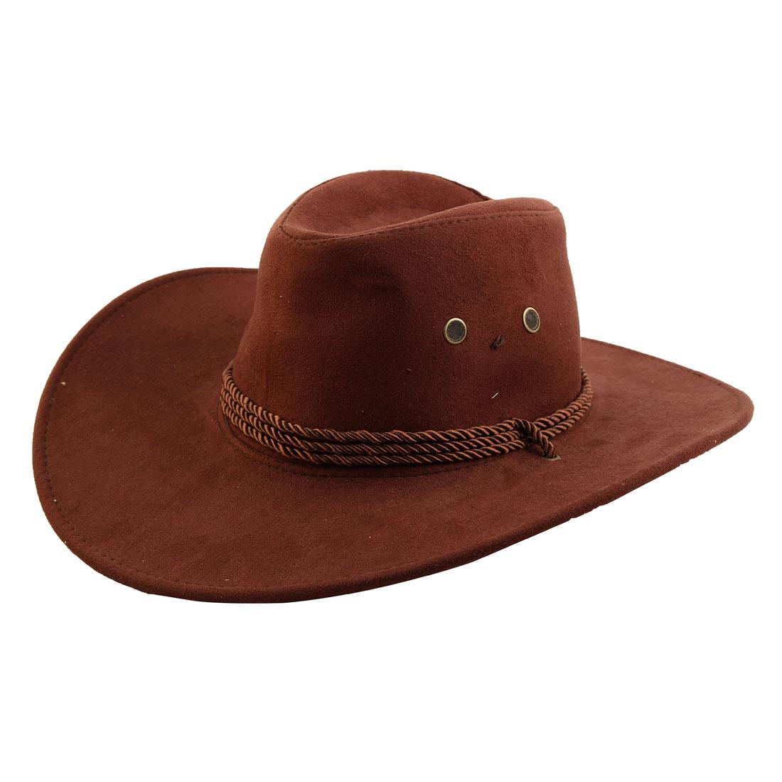 Faux Suede Adjustable Neck Strap Western Style Sunhat Cowboy Hat Dark Brown