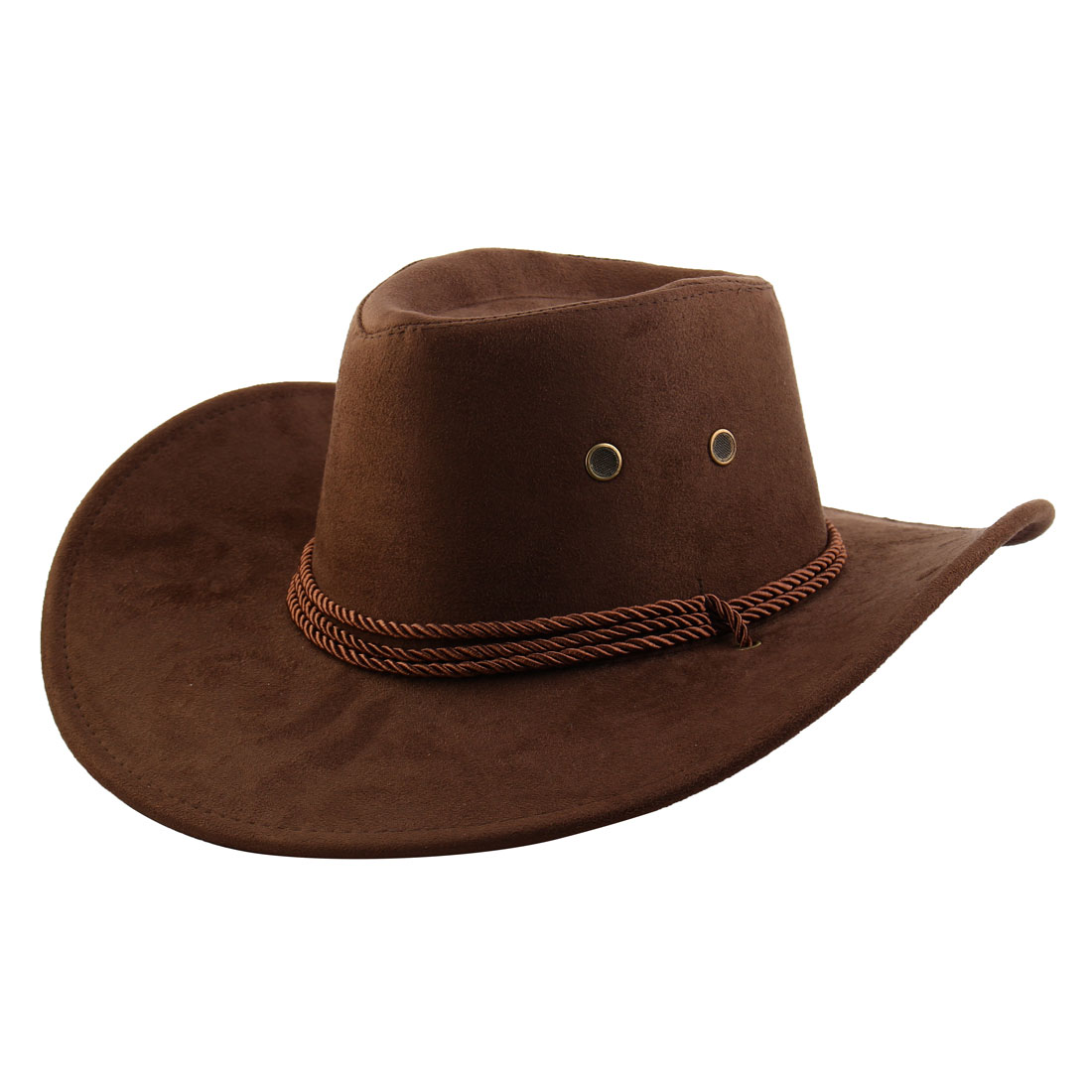 Faux Suede Adjustable Neck Strap Western Style Sunhat Cowboy Hat Coffee Color