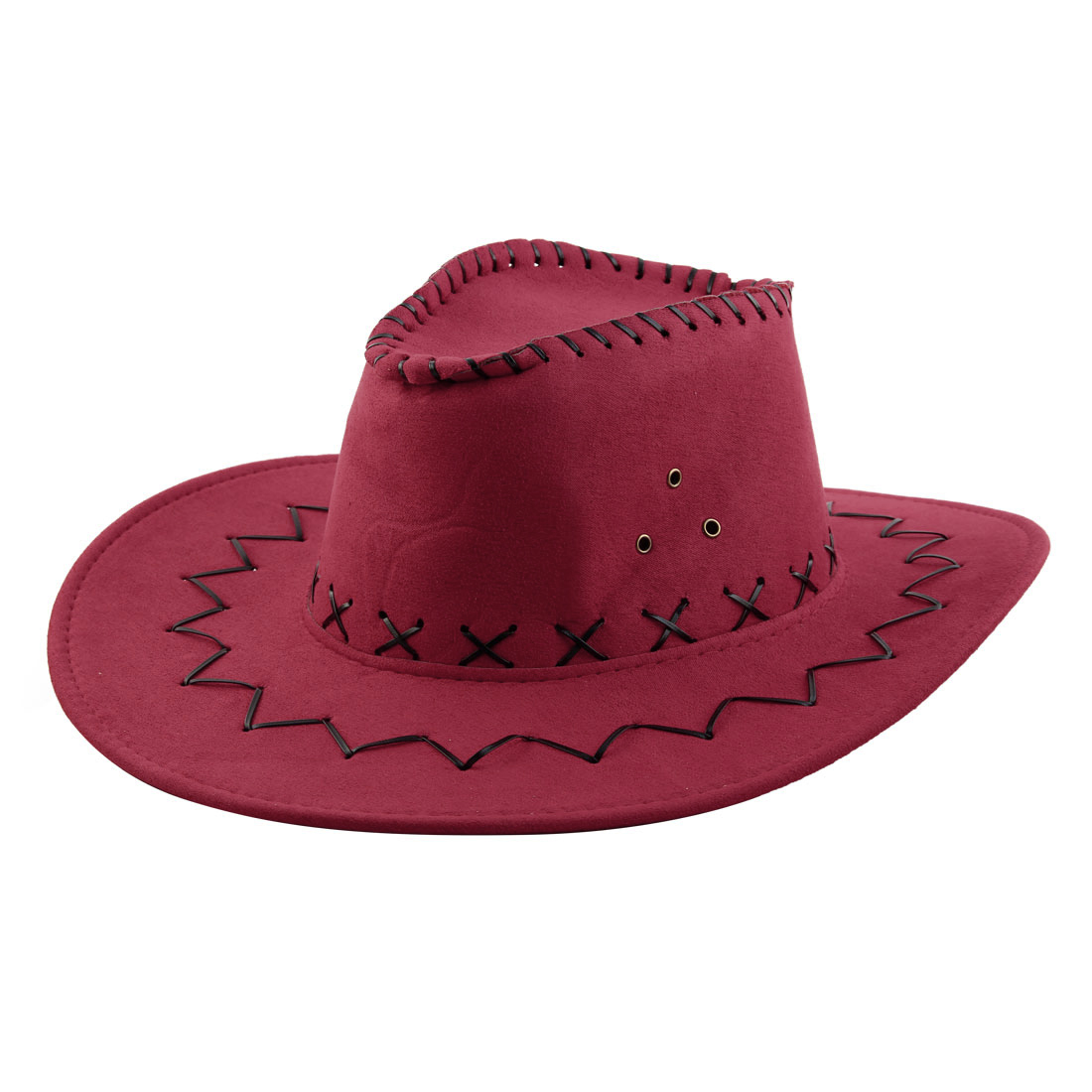 Faux Suede Adjustable Neck Strap Wide Brim Western Style Sunhat Cowboy Hat Red