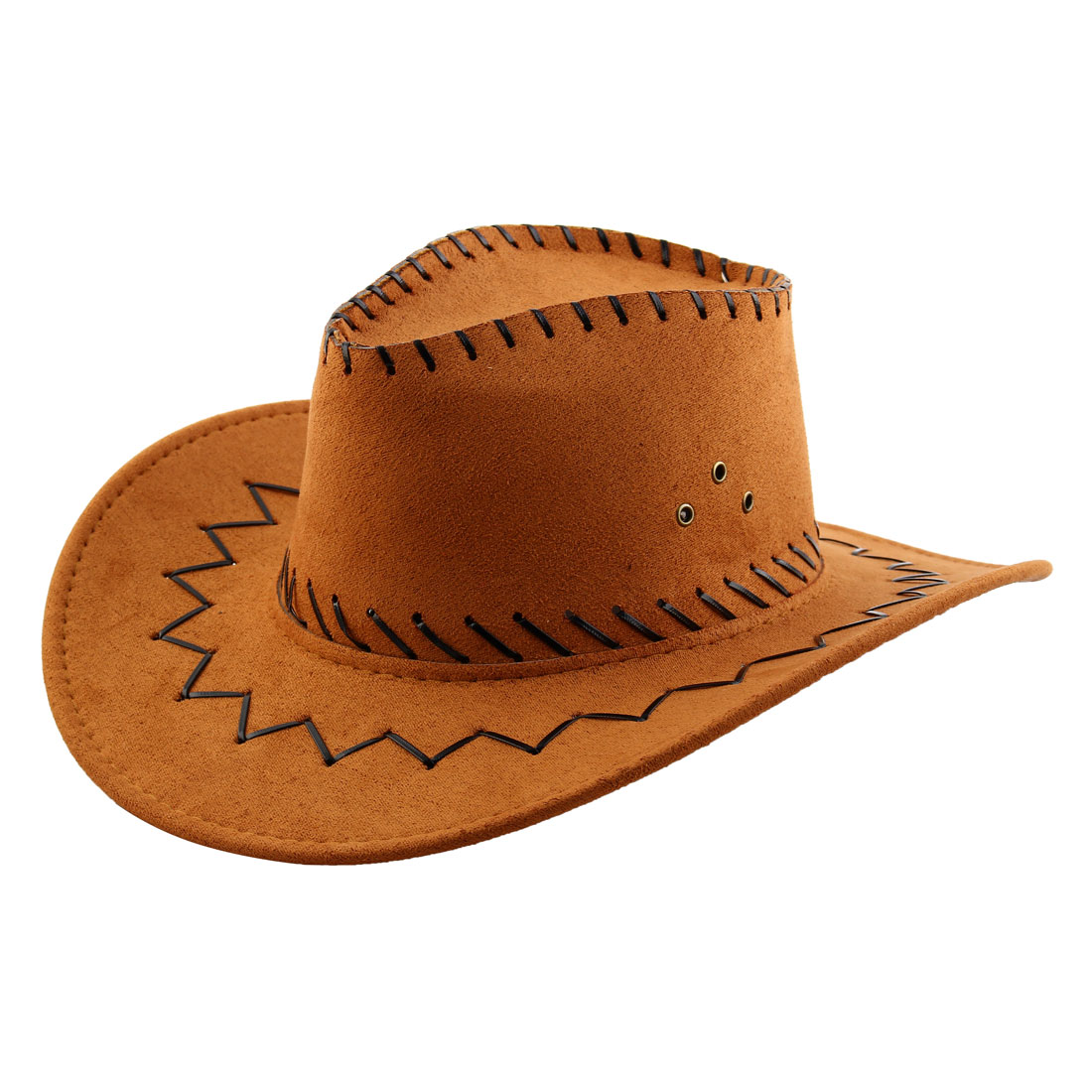 Adult Adjustable Strap Wide Brim Western Style Sunhat Cowboy Hat Light Brown
