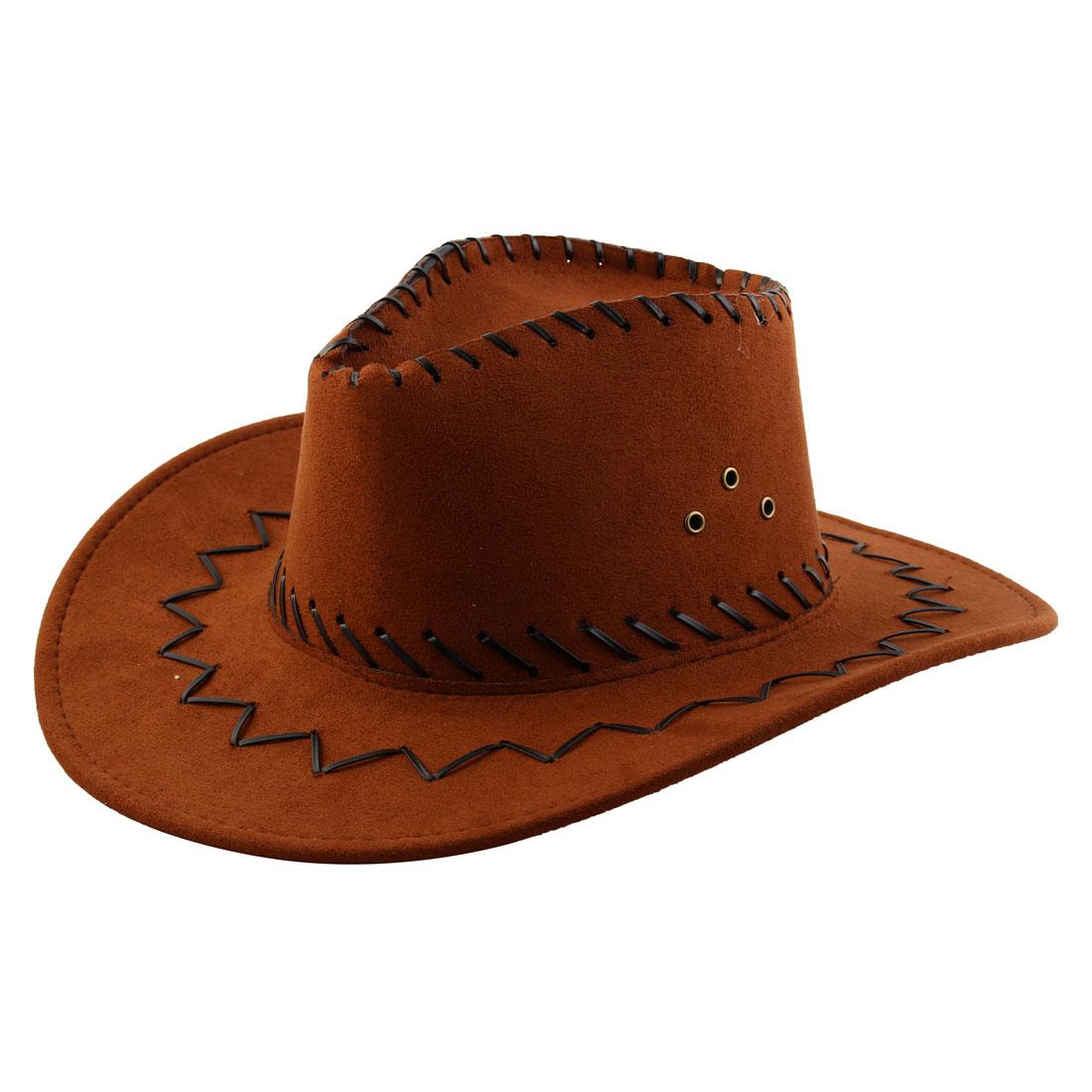 Adult Adjustable Neck Strap Wide Brim Western Style Sunhat Cowboy Hat Brown