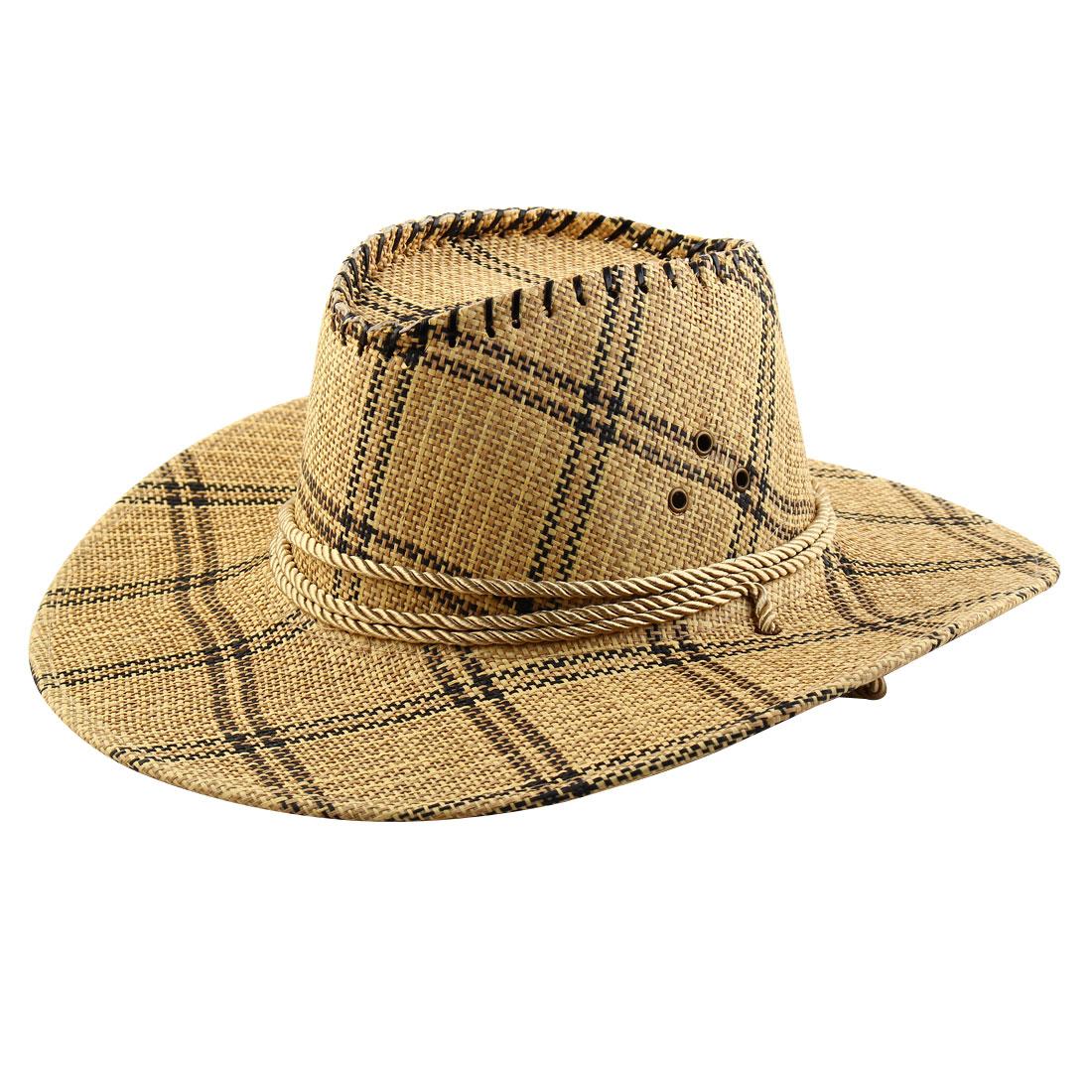 Men Straw Braided Grid Pattern Western Style Beach Sunhat Cowboy Hat Light Brown