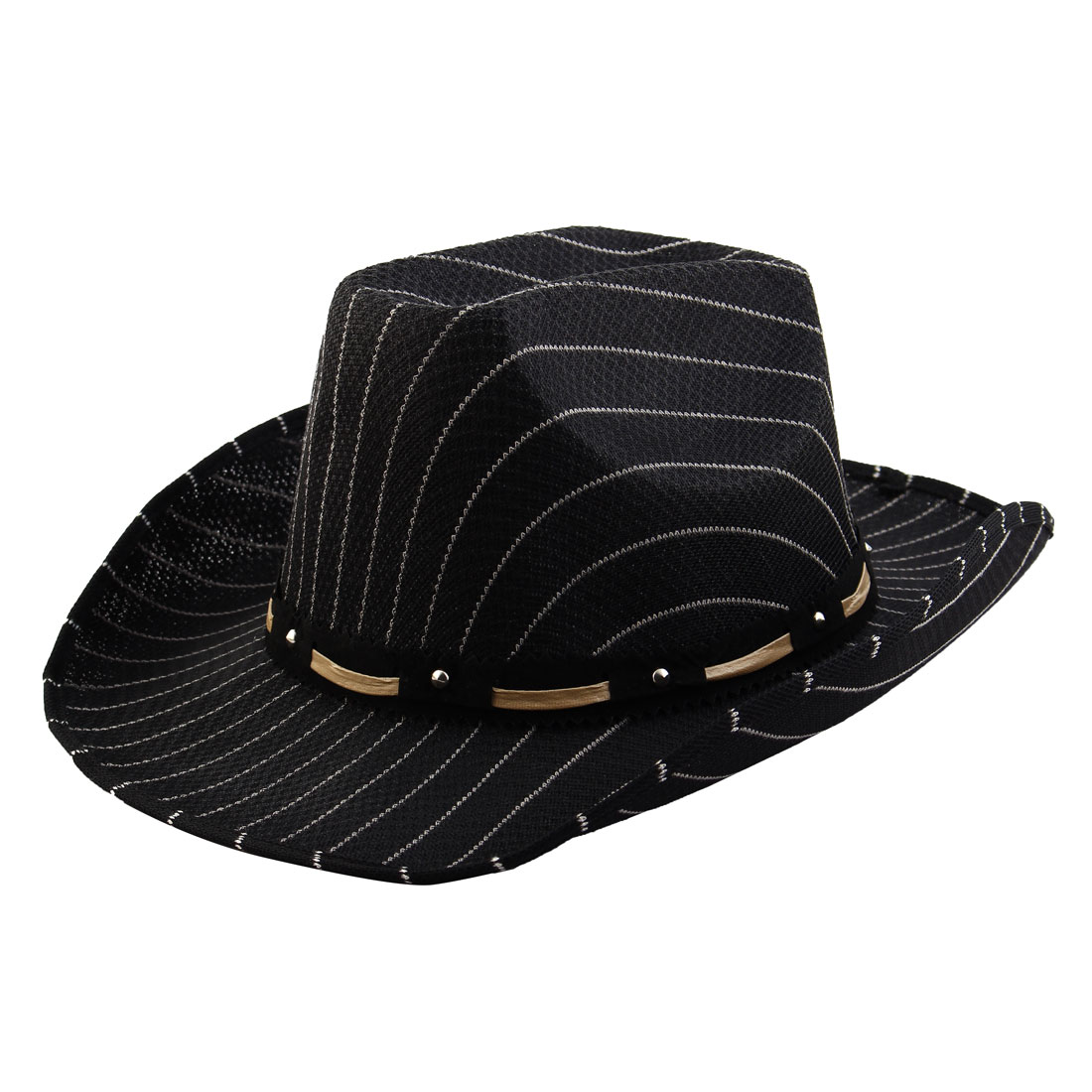 Summer Outdoor Linen Stripe Pattern Breathable Wide Brim Sunhat Cowboy Hat Black