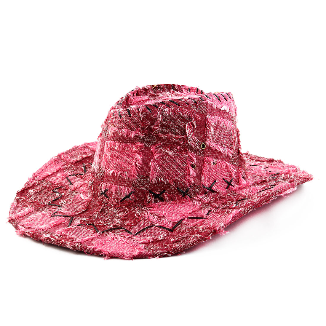 Polyester Blends Adjustable Neck Strap Wide Brim Western Cowboy Hat Fuchsia