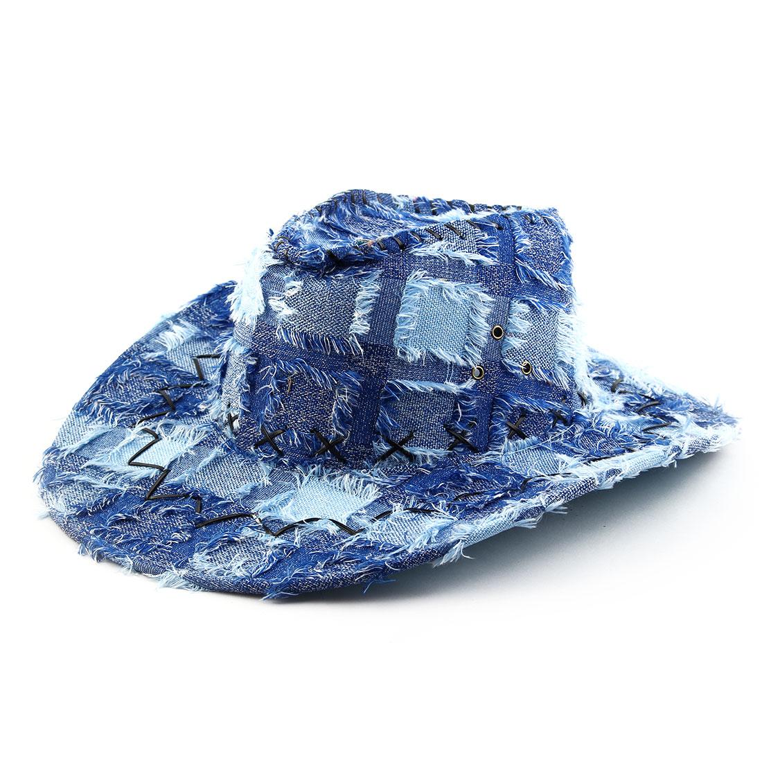 Polyester Blends Adjustable Neck Strap Wide Brim Western Cowboy Hat Sky Blue
