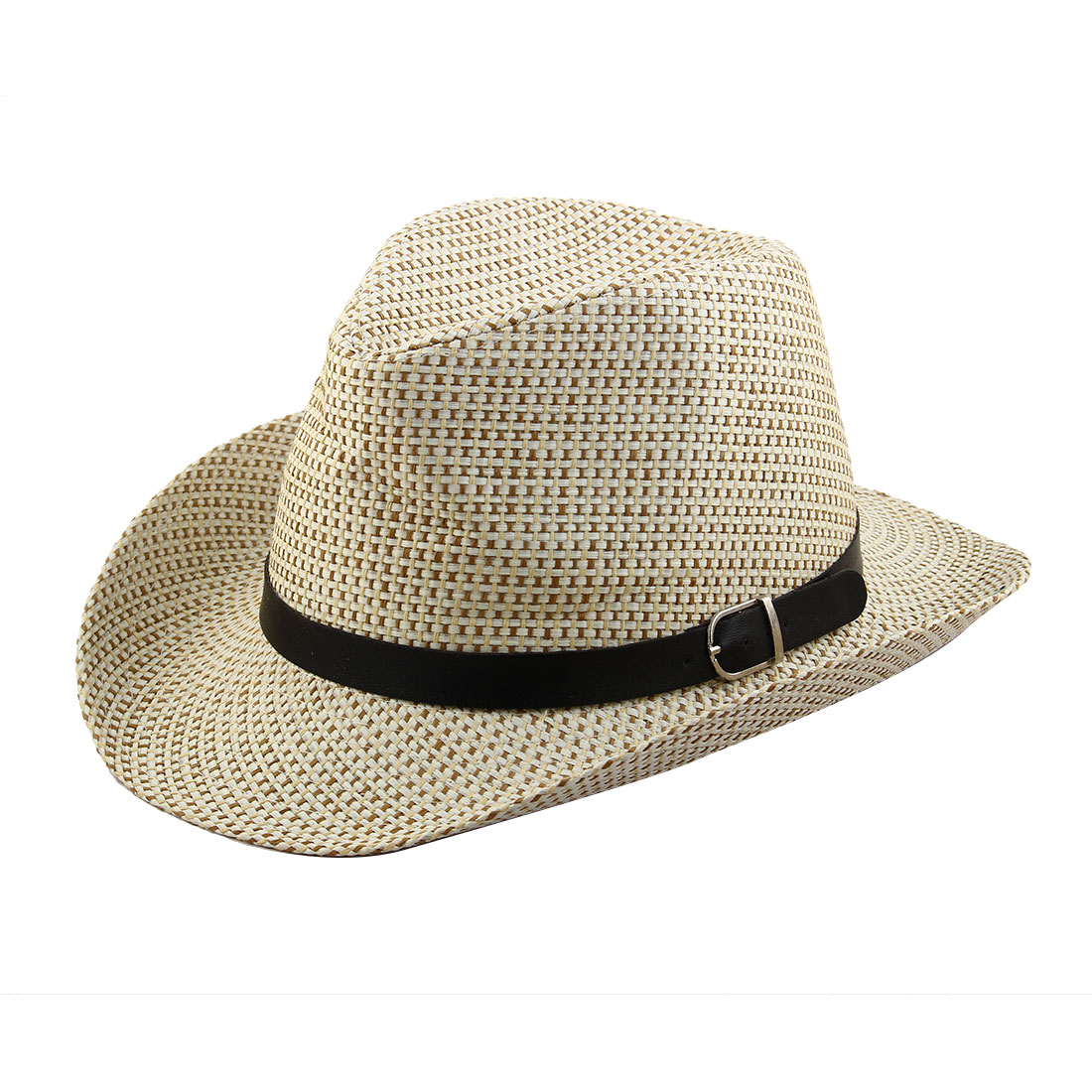 Men Straw Braided Faux Leather Band Decor Western Style Sunhat Cowboy Hat White