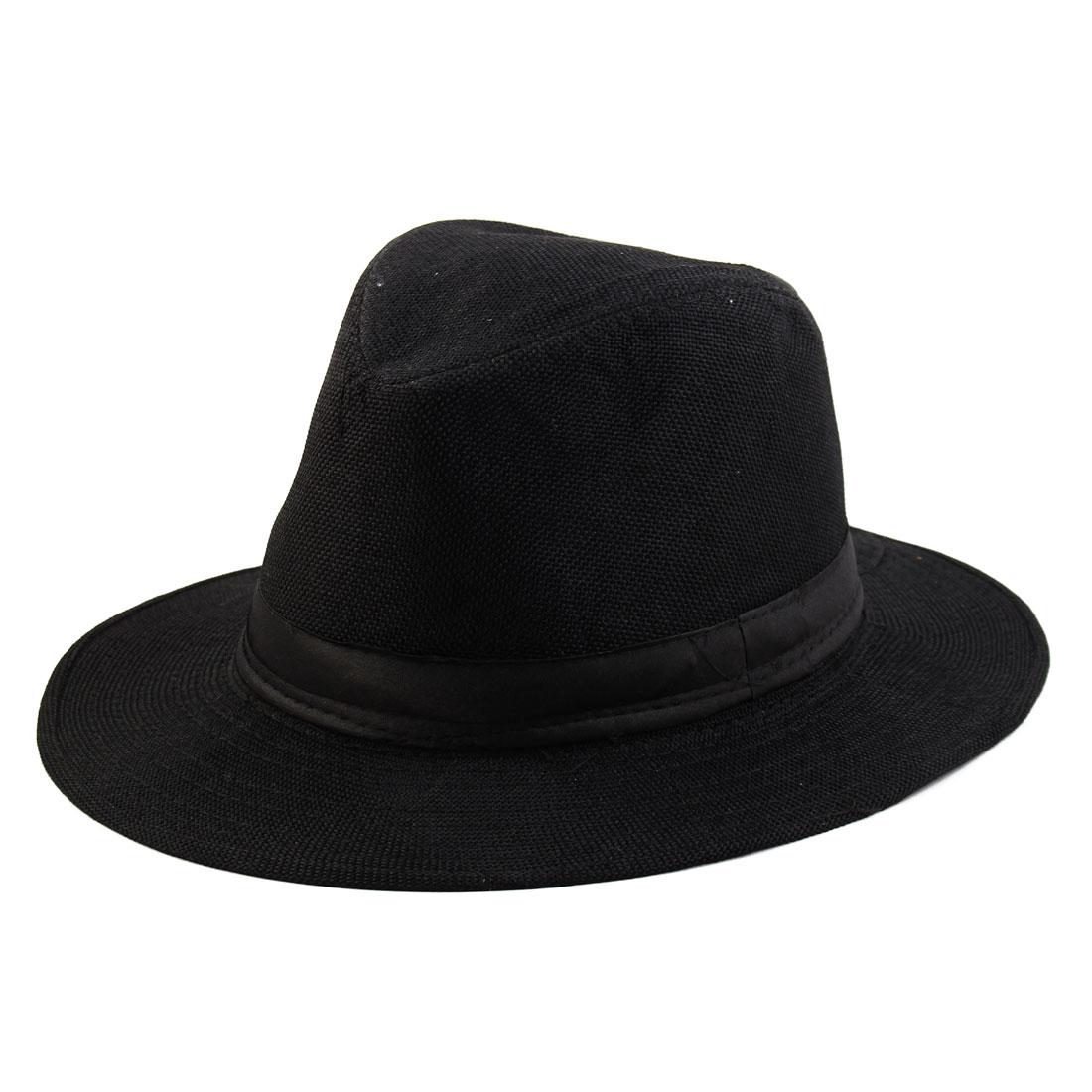 Summer Outdoor Linen Wide Brim Western Style Beach Sunhat Cowboy Hat Black