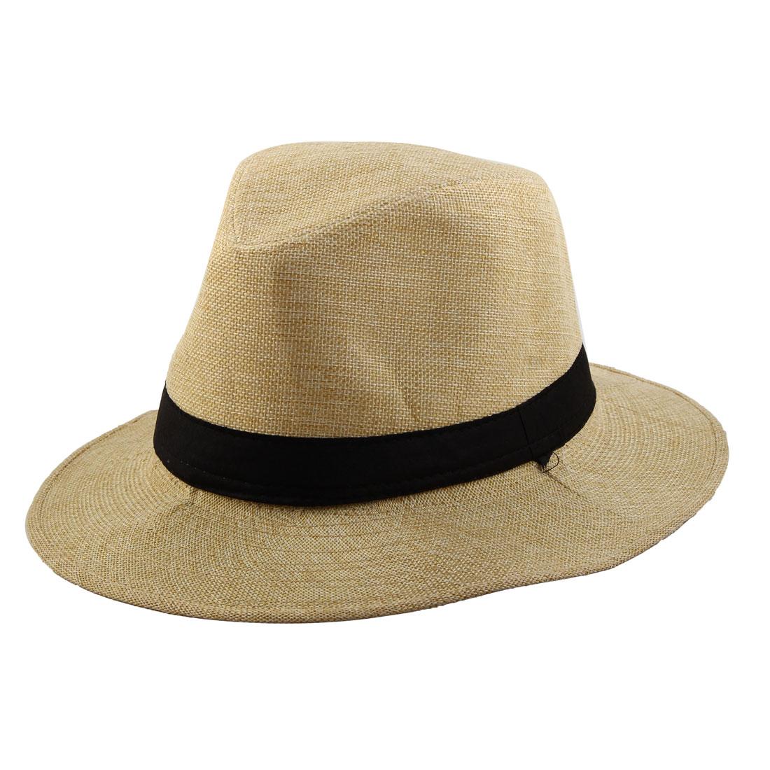 Men Outdoor Linen Wide Brim Western Style Beach Sunhat Cowboy Hat Beige