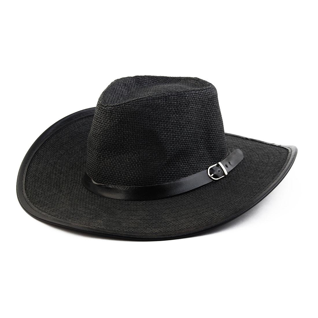 Summer Straw Braided Faux Leather Band Decor Western Sunhat Cowboy Hat Black