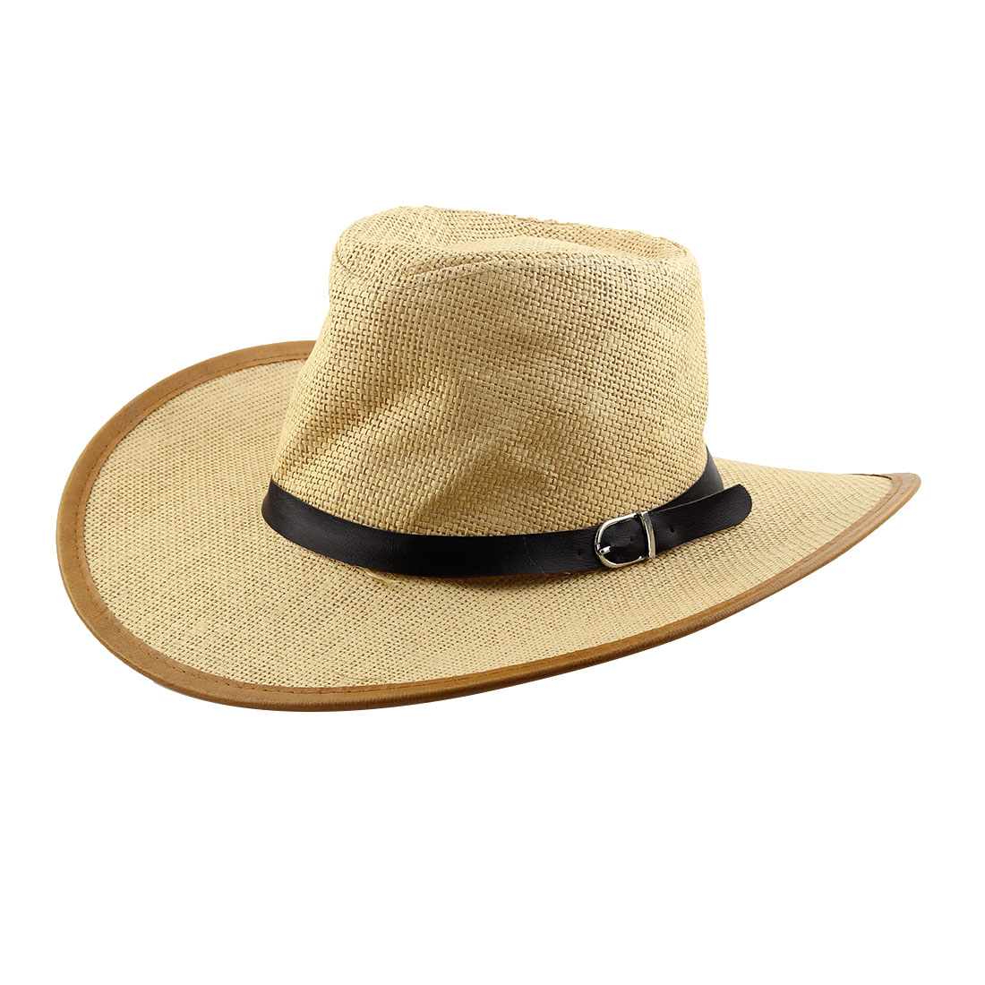 Summer Straw Braided Faux Leather Band Decor Sunhat Cowboy Hat Light Beige