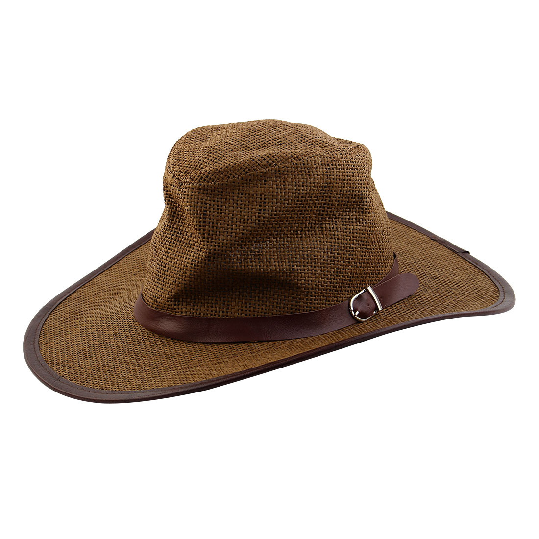 Summer Straw Braided Faux Leather Band Decor Sunhat Cowboy Hat Coffee Color