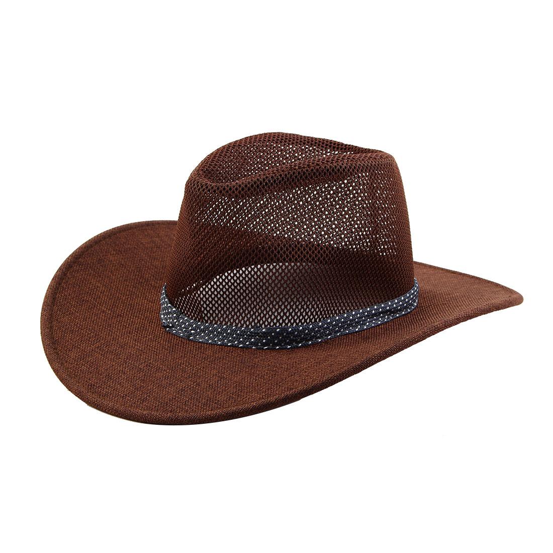 Linen Wide Brim Western Style Beach Mesh Cap Net Sunhat Cowboy Hat Coffee Color