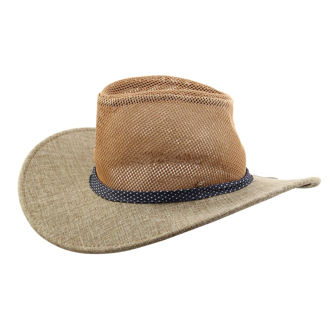 Summer Outdoor Linen Wide Brim Beach Mesh Cap Net Sunhat Cowboy Hat Light Brown